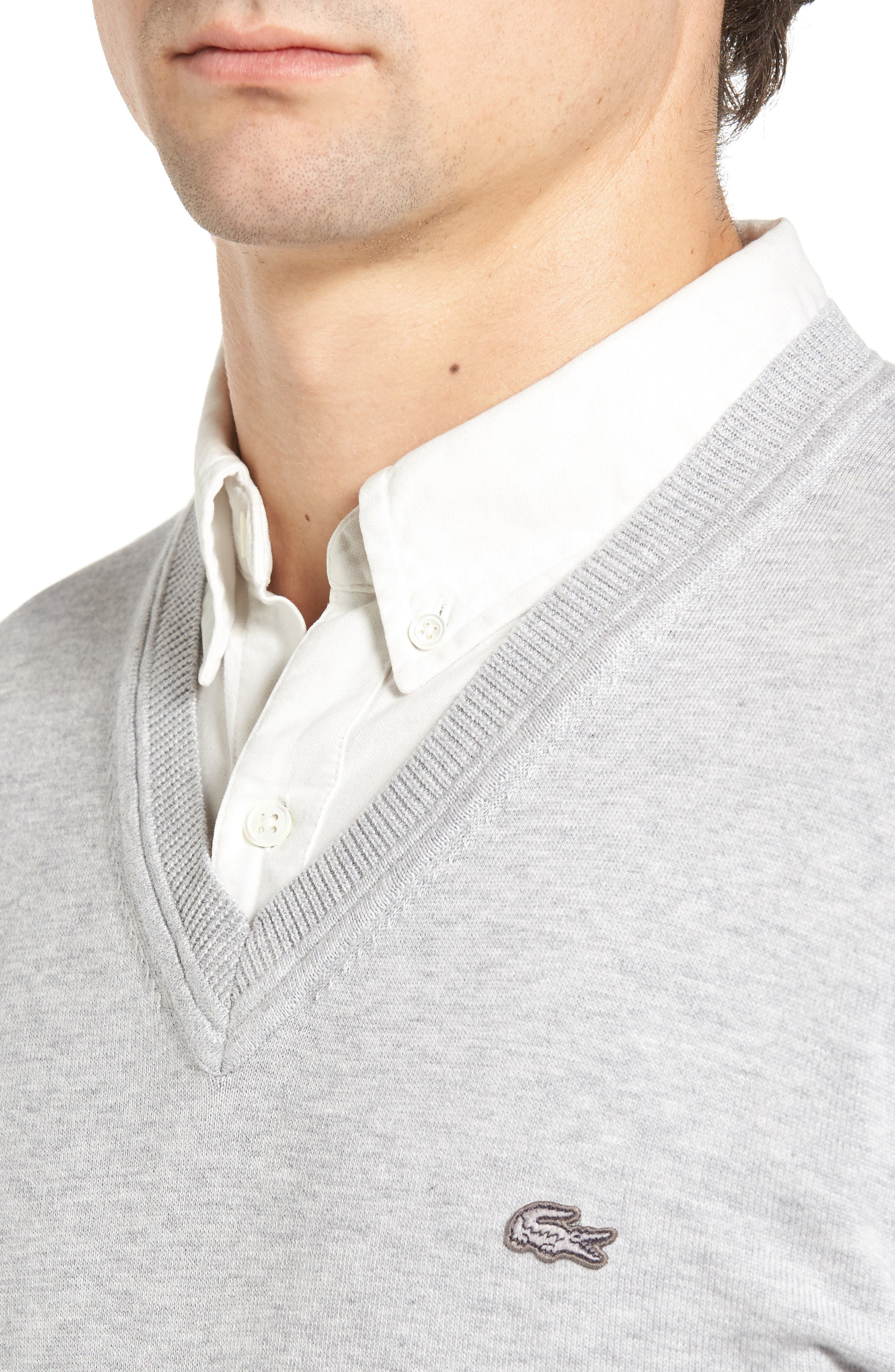 Cotton Jersey V-Neck Sweater,                             Alternate thumbnail 10, color,