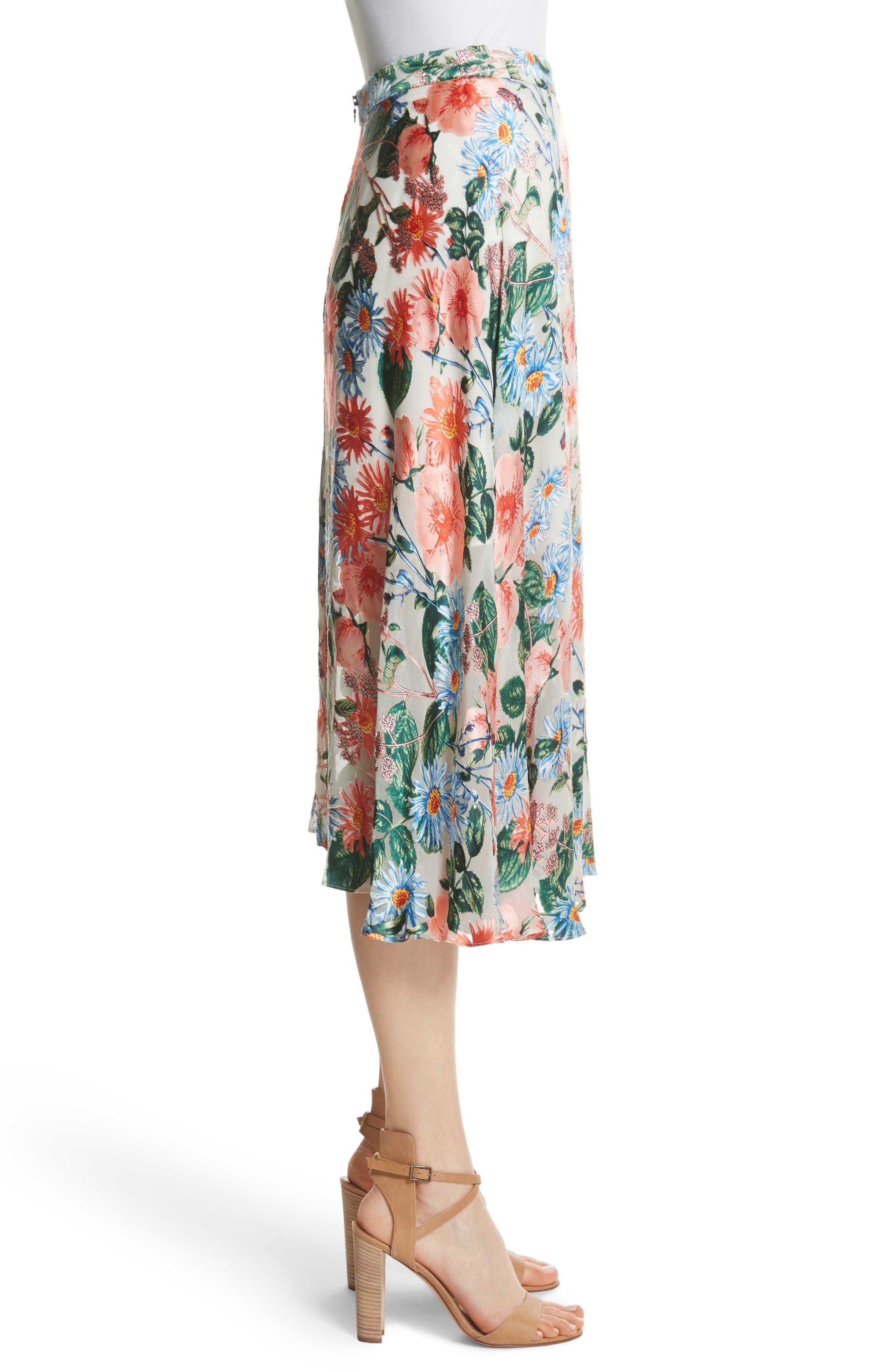 Nanette Floral Faux Wrap Skirt,                             Alternate thumbnail 3, color,                             470
