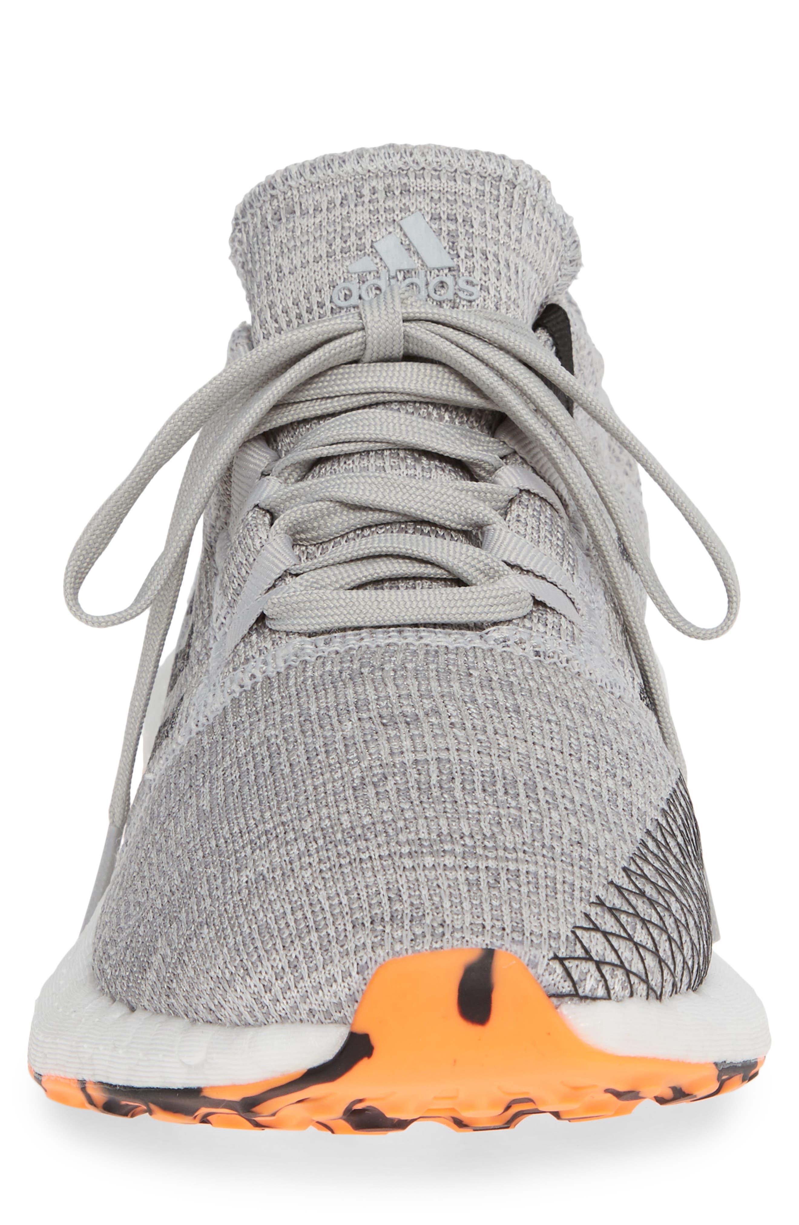 PureBoost GO Running Shoe,                             Alternate thumbnail 4, color,                             GREY/ BLACK/ ORANGE