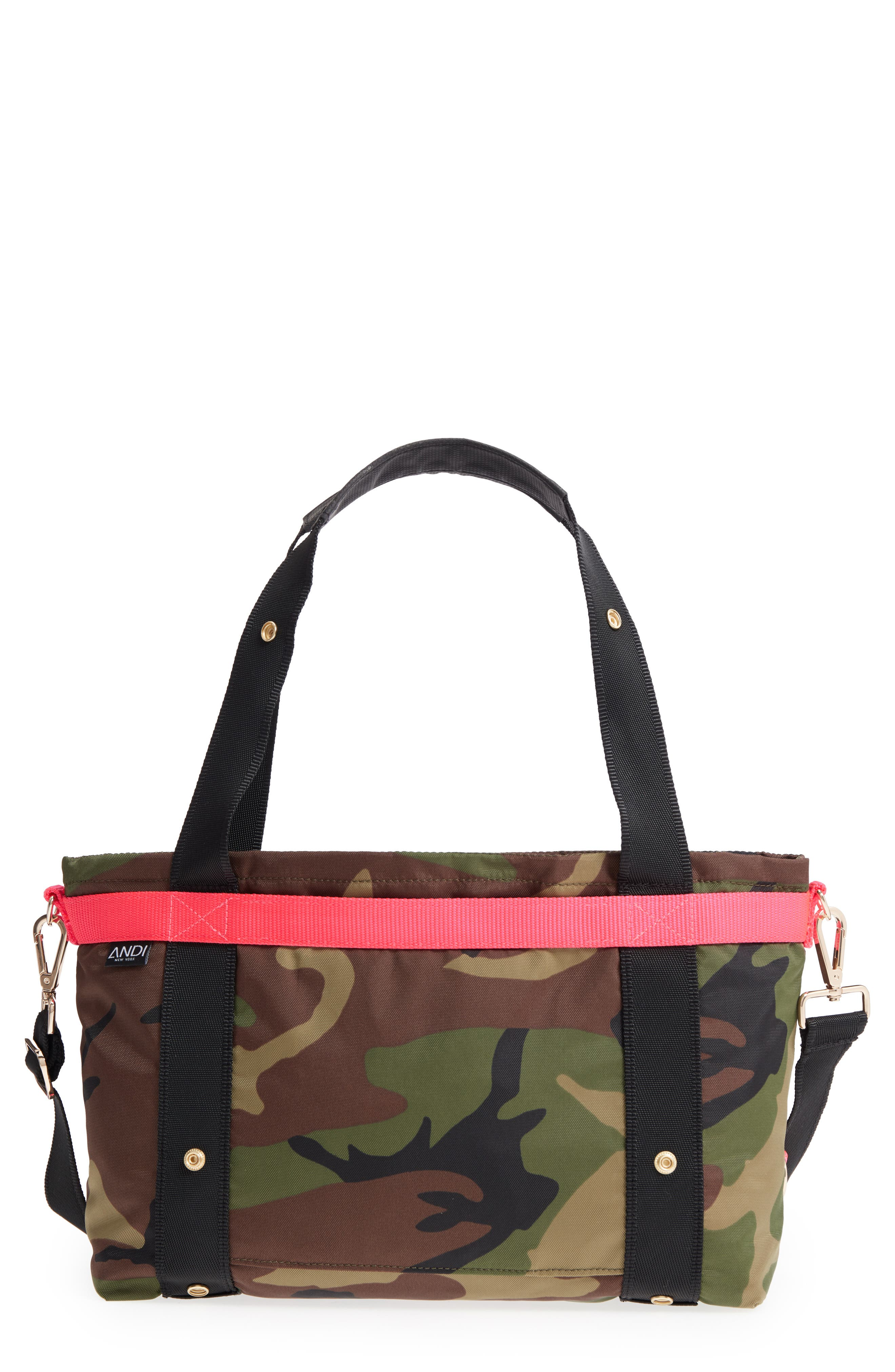 ANDI Small Convertible Tote - Green in Woodland Camouflage/ Hot Pink