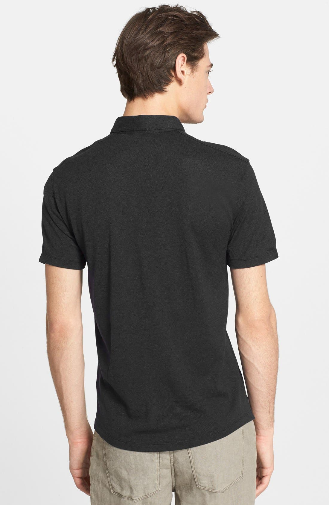 Hampton Silk & Cotton Polo,                             Alternate thumbnail 7, color,                             BLACK