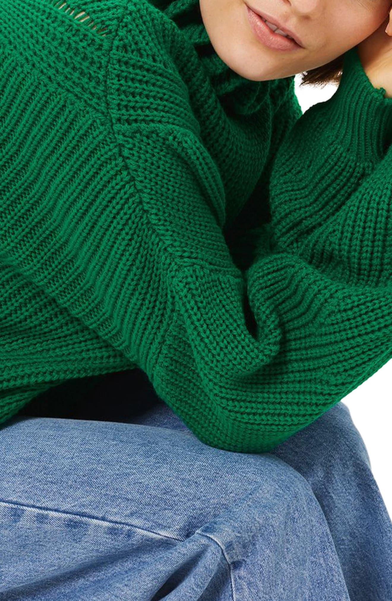 Frill Neck Sweater,                             Alternate thumbnail 3, color,                             300