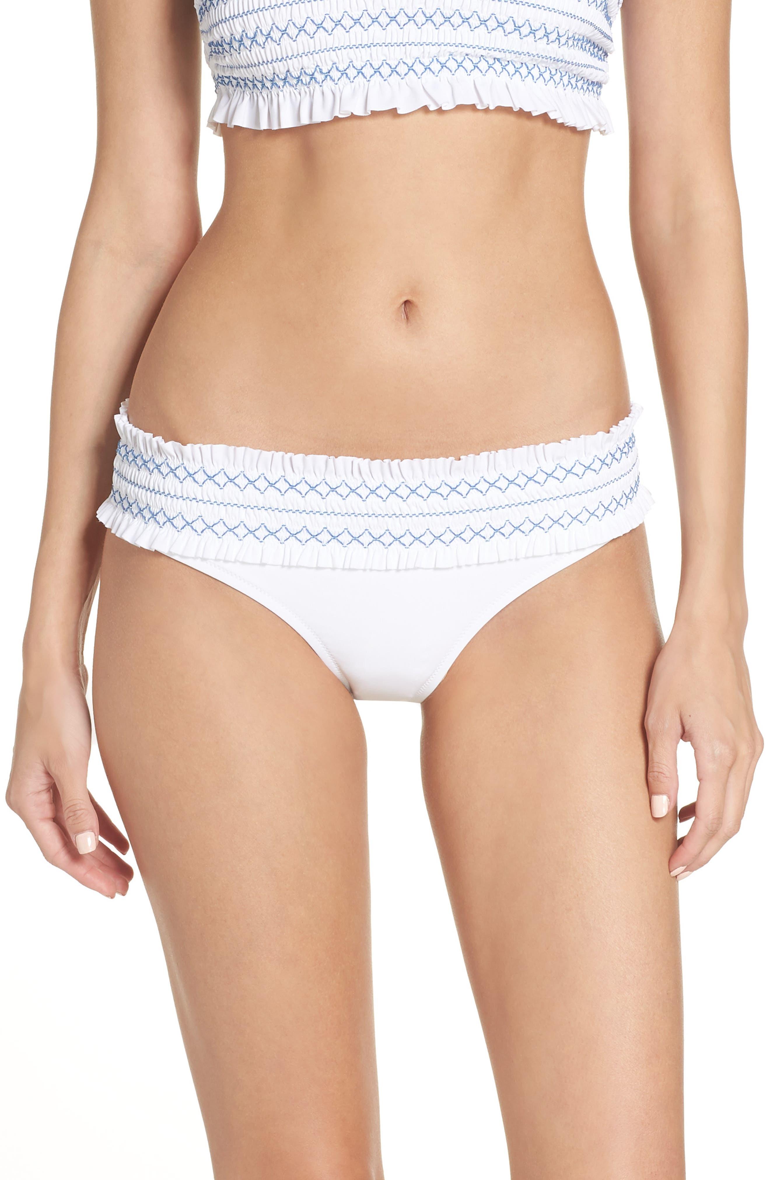 Costa Smocked Hipster Bikini Bottoms,                             Main thumbnail 1, color,                             WHITE / BLUE DUSK
