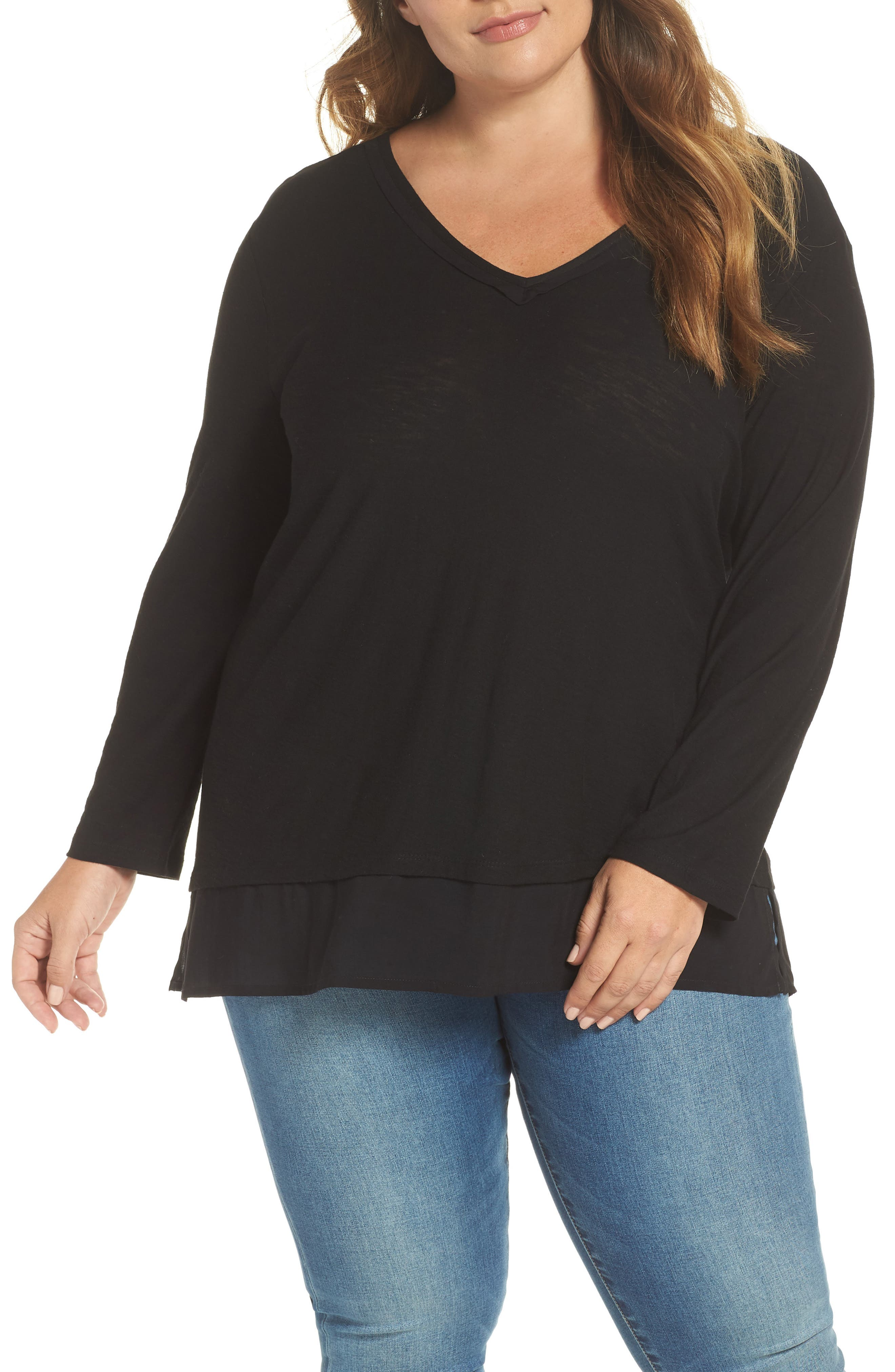 Woven Hem Layered Top,                         Main,                         color, RICH BLACK
