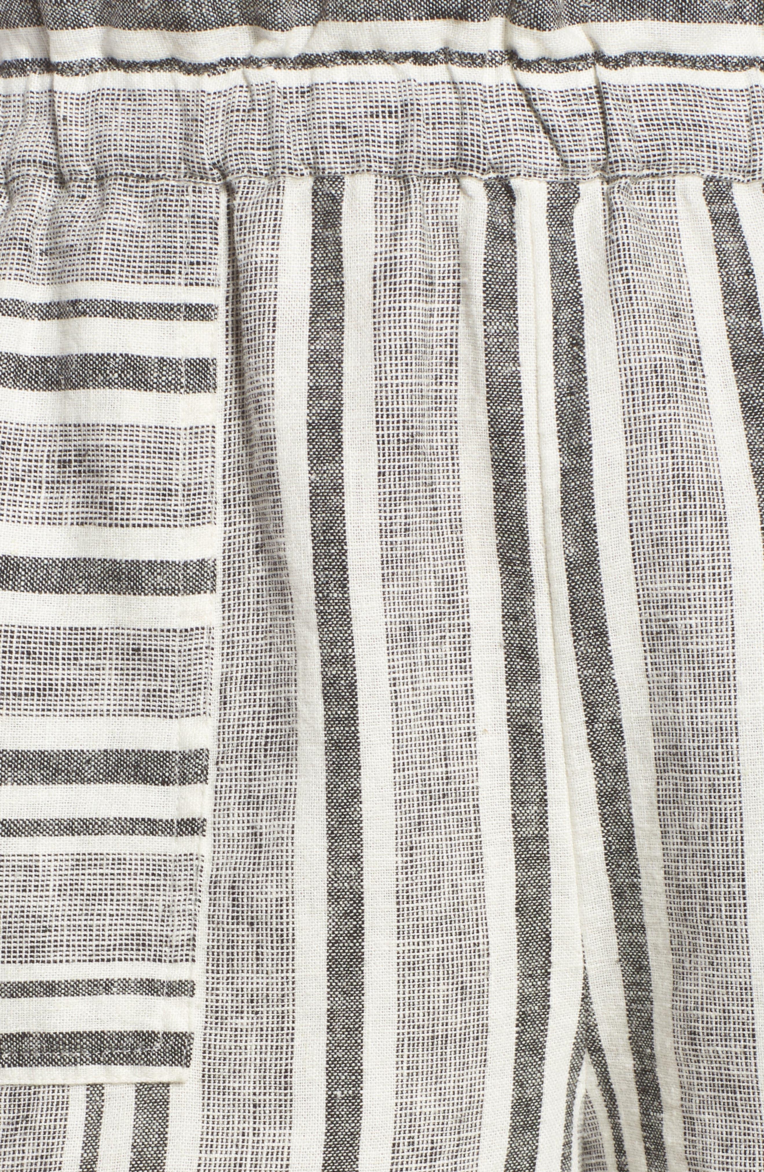 Stripe Linen Blend Shorts,                             Alternate thumbnail 5, color,                             001