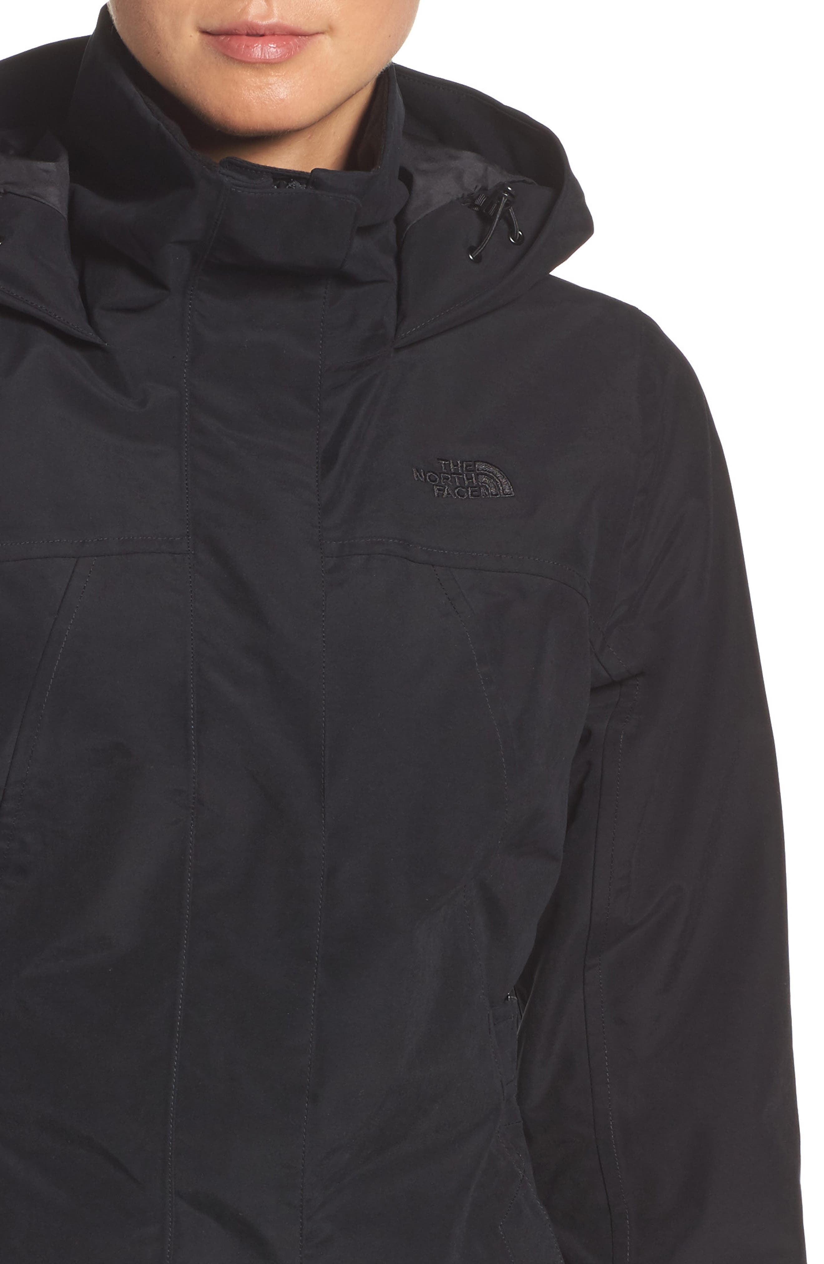Laney II Trench Raincoat,                             Alternate thumbnail 4, color,                             TNF BLACK