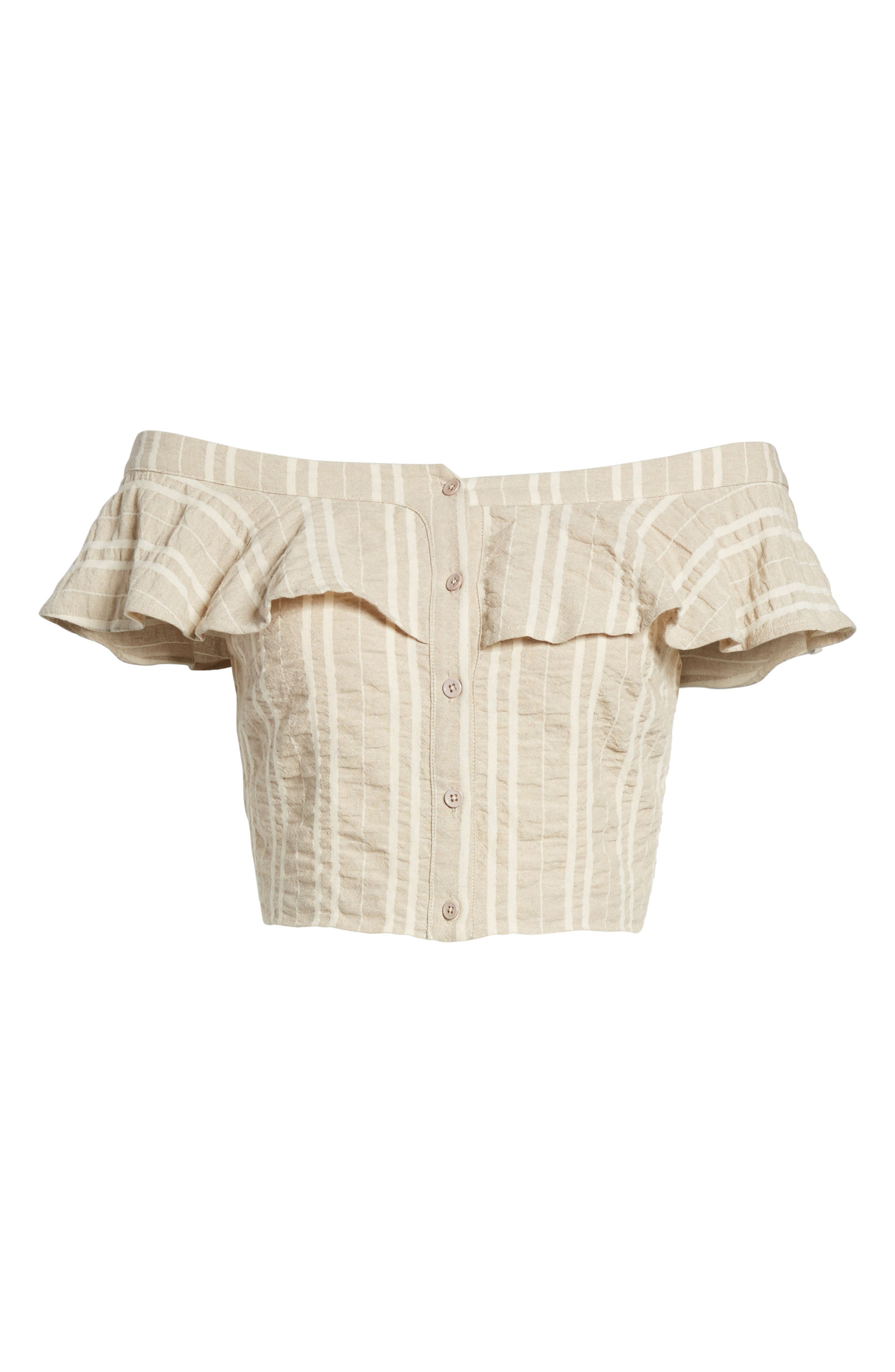 Stella Ruffle Off the Shoulder Crop Top,                             Alternate thumbnail 7, color,                             904