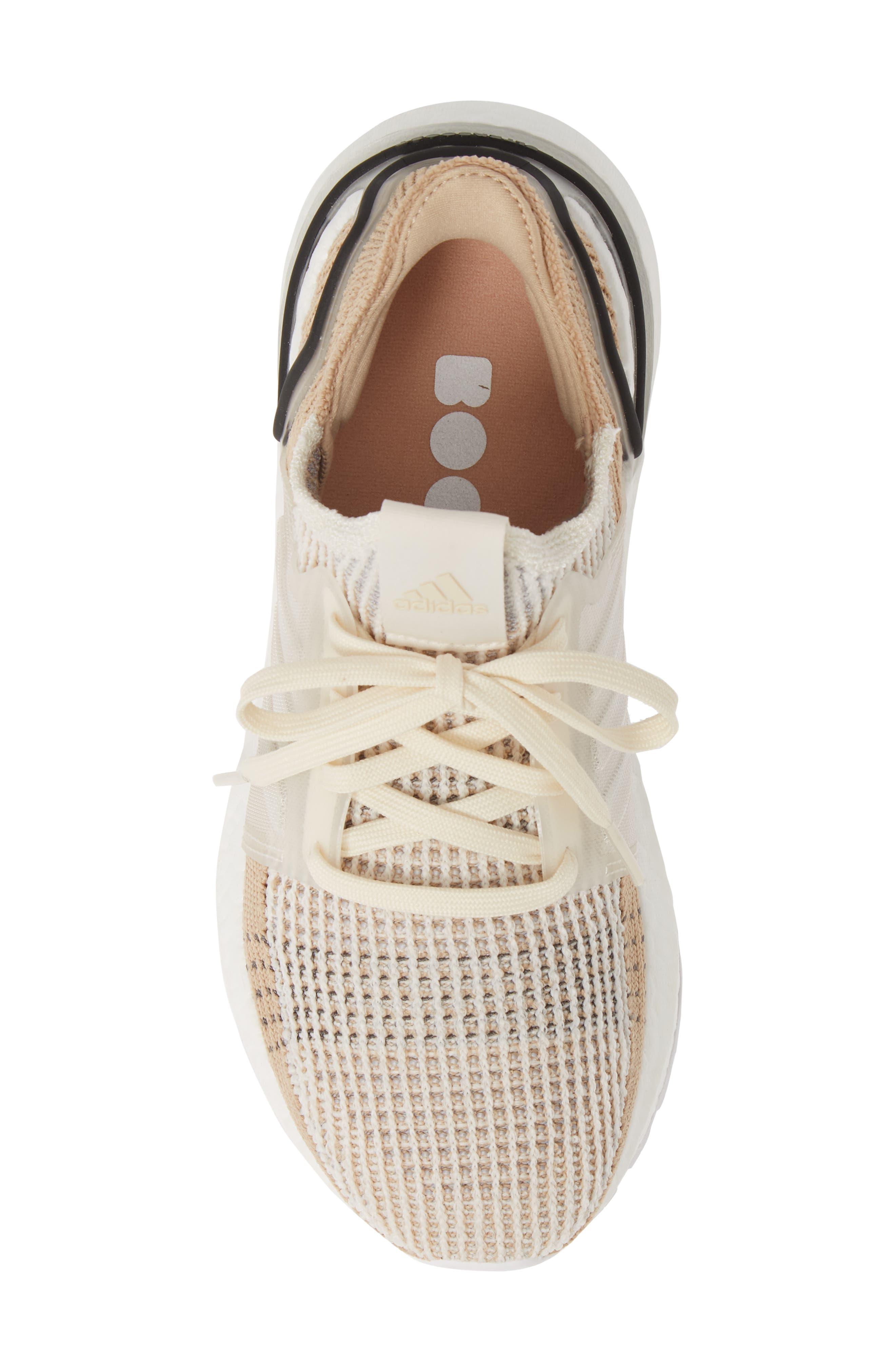 ADIDAS,                             UltraBoost 19 Running Shoe,                             Alternate thumbnail 5, color,                             CHALK WHITE/ PALE NUDE/ BLACK