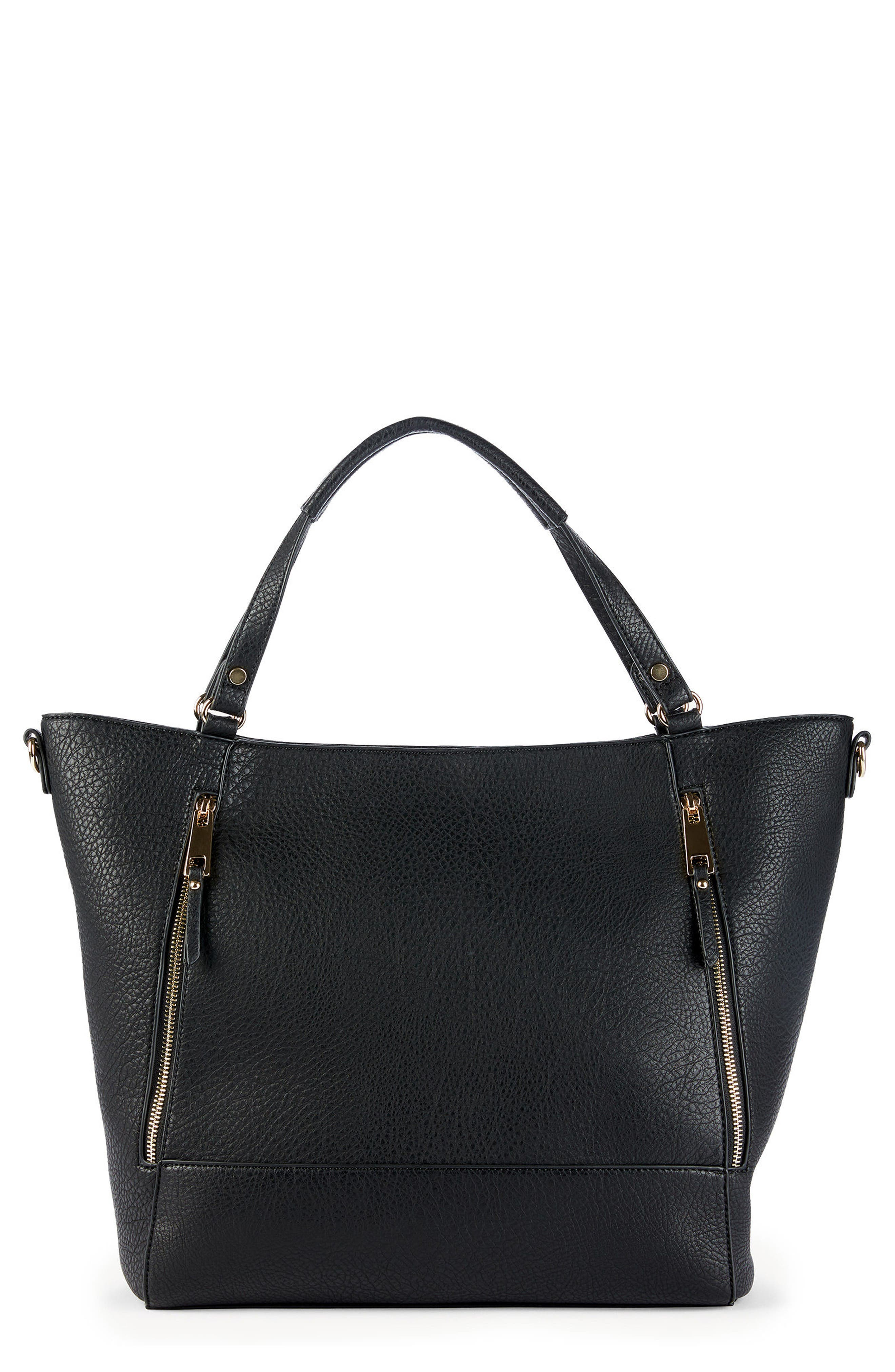 Nera Faux Leather Tote,                         Main,                         color, 001