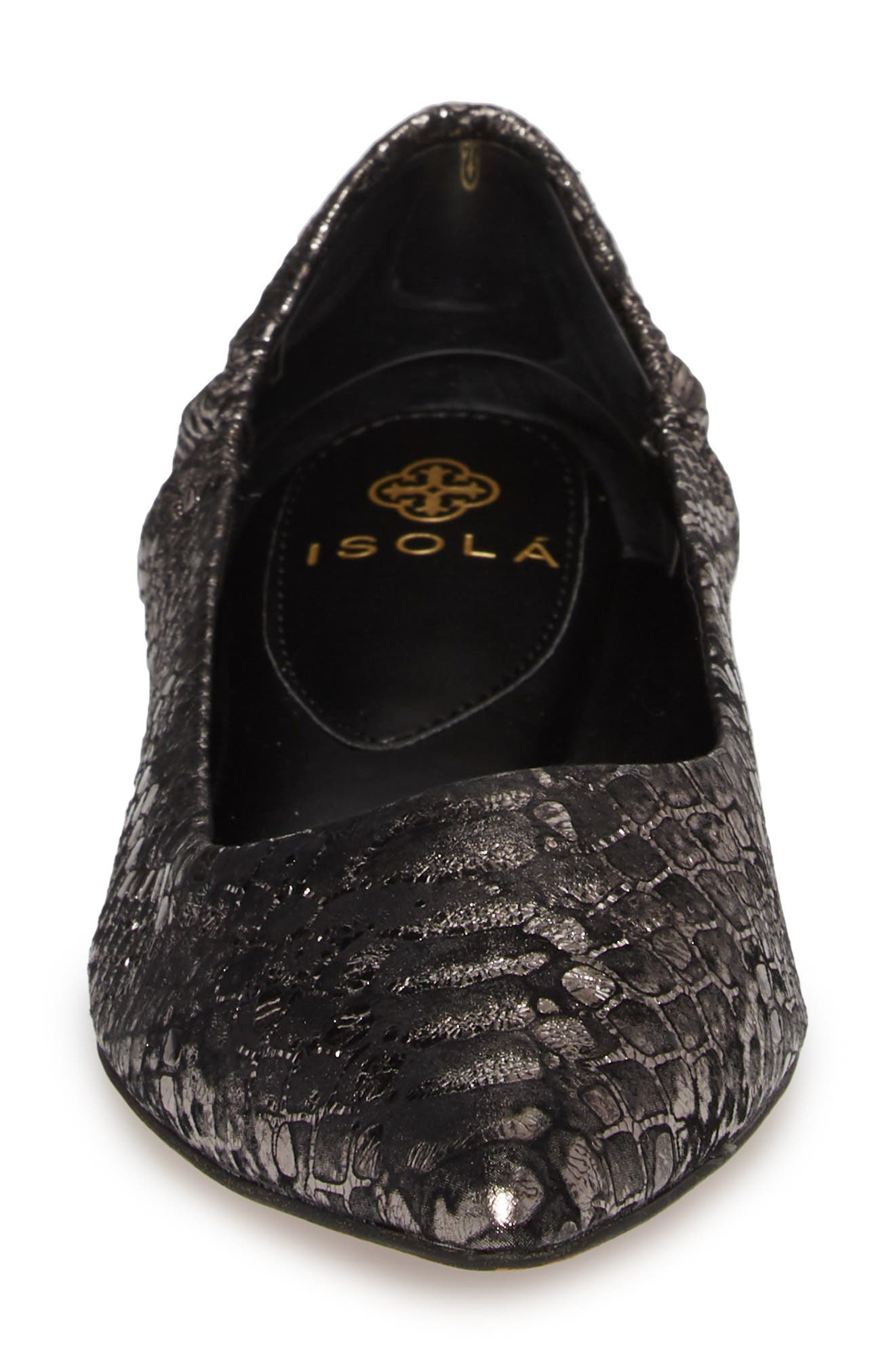 Isola Padra Pointy Toe Flat,                             Alternate thumbnail 4, color,                             PEWTER LEATHER