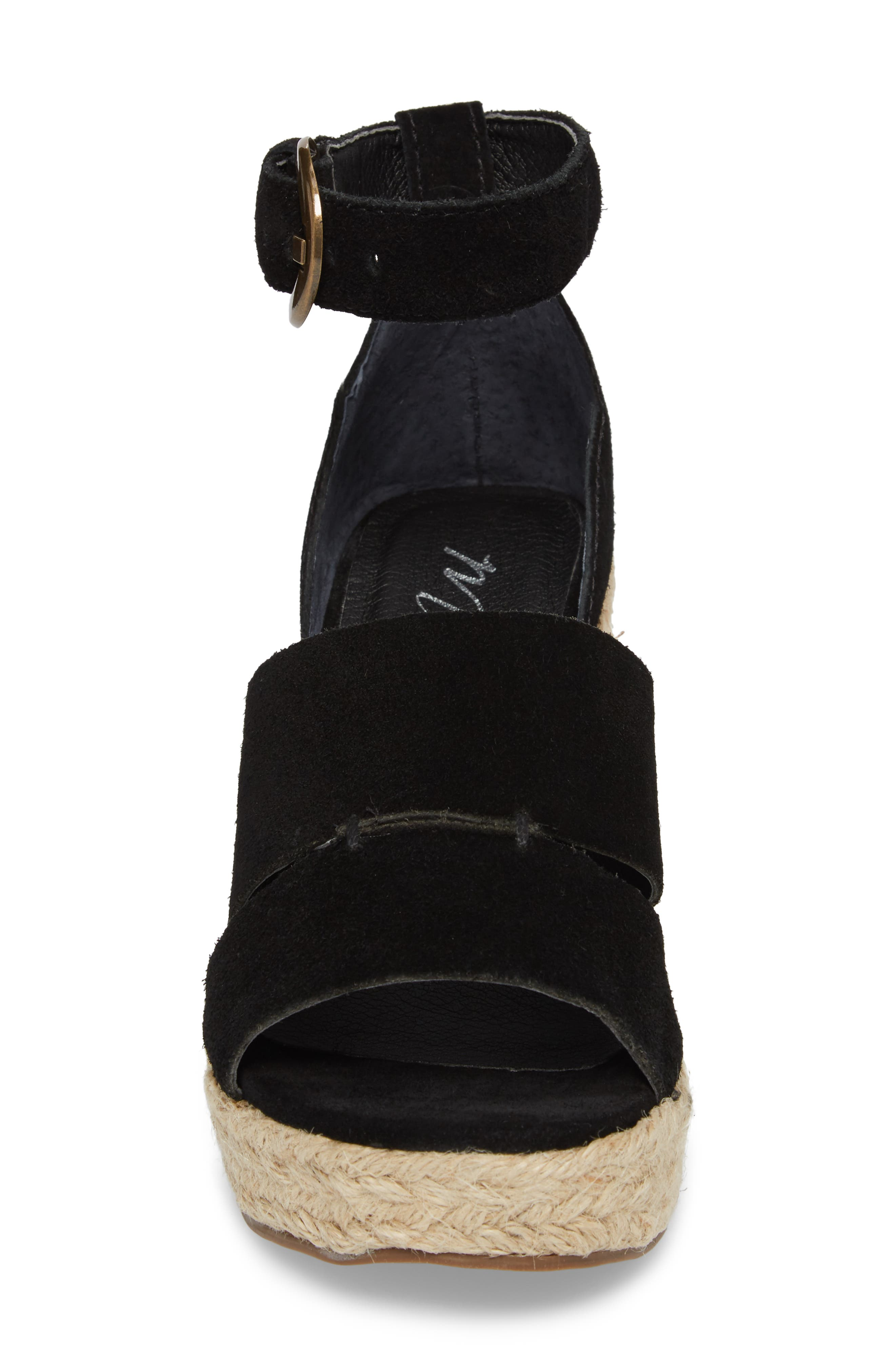 Cha Cha Espadrille Wedge Sandal,                             Alternate thumbnail 4, color,                             BLACK SUEDE