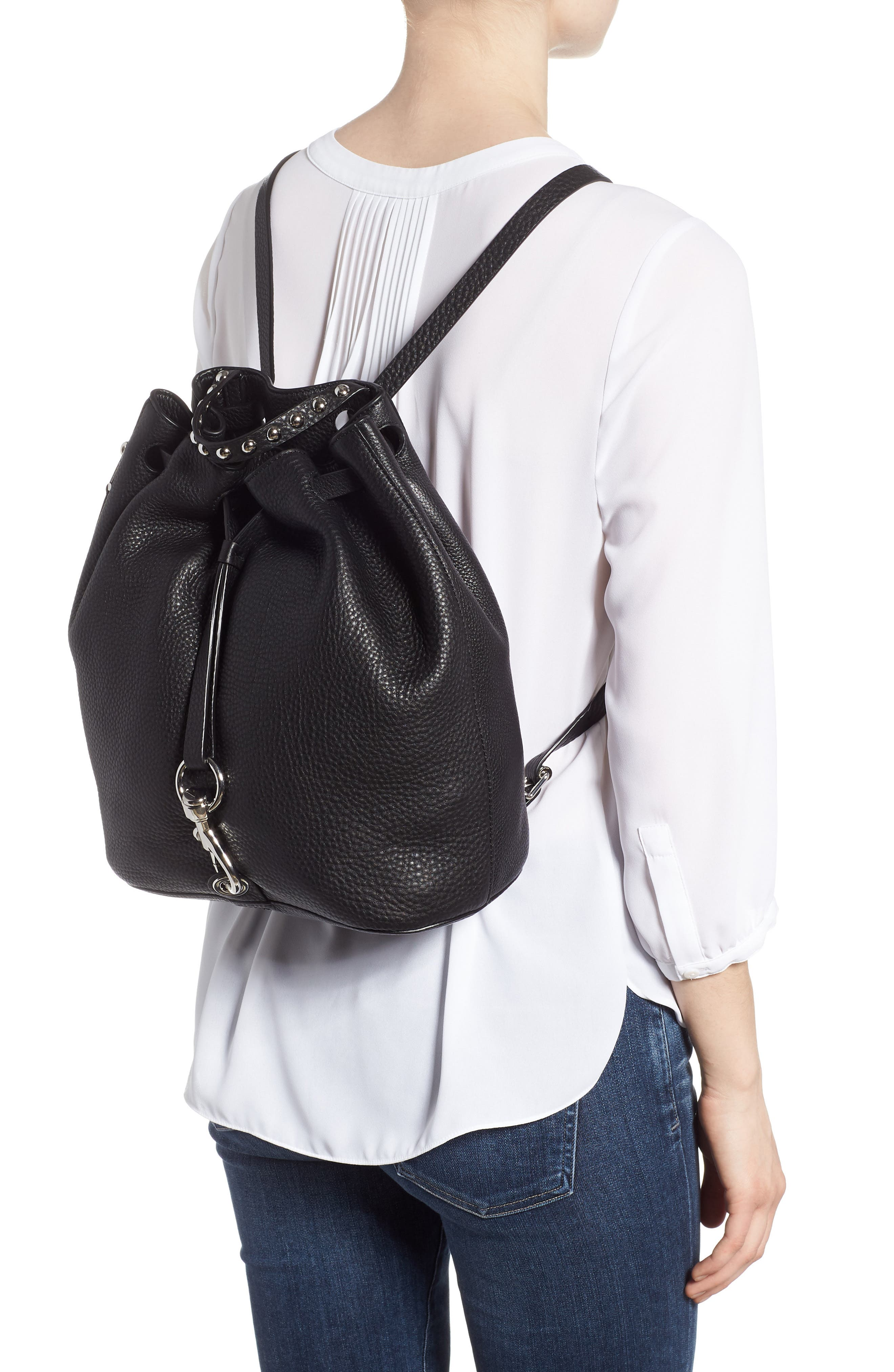 Blythe Leather Backpack,                             Alternate thumbnail 2, color,                             001