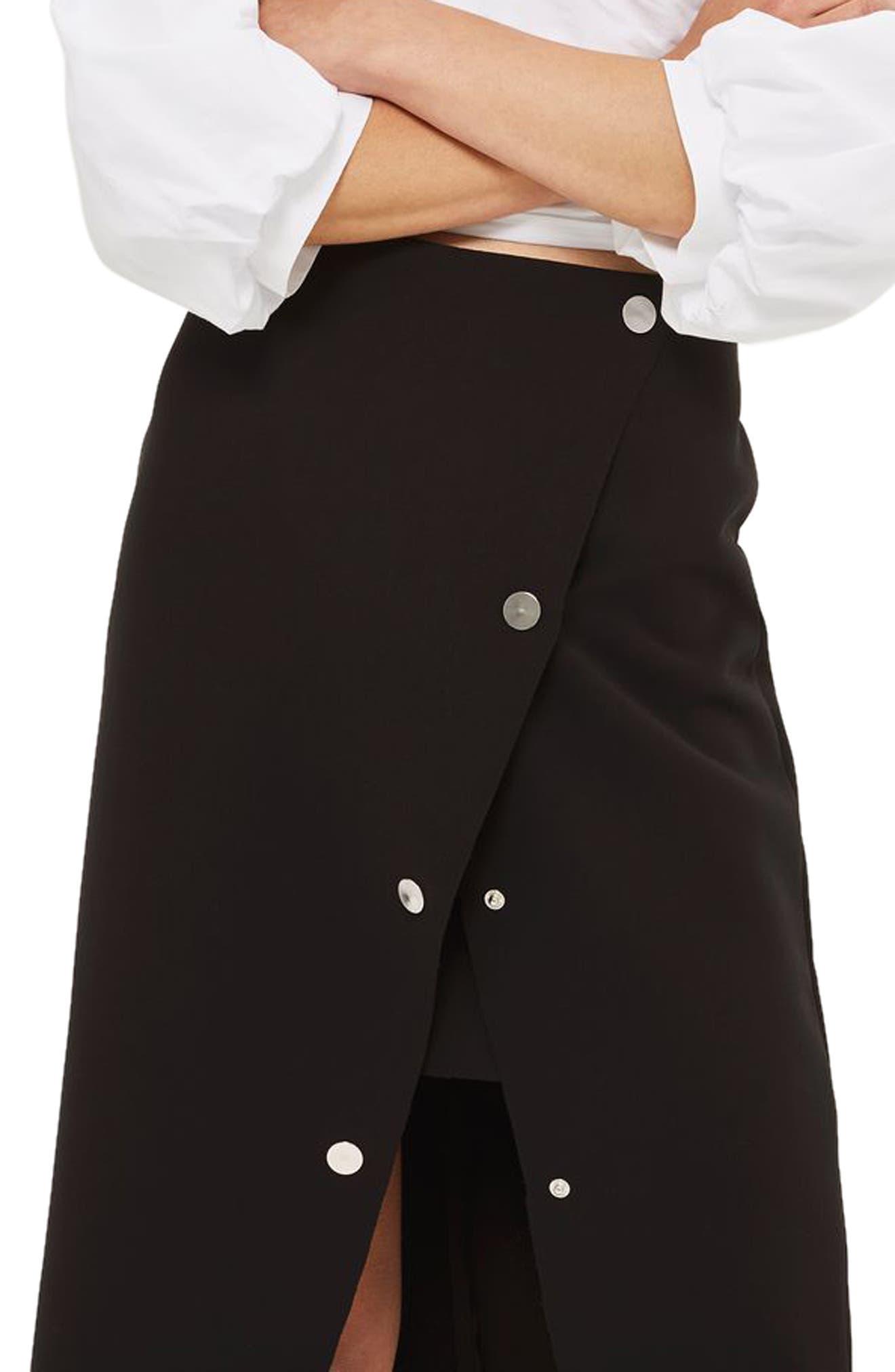 Snap Midi Skirt,                             Main thumbnail 1, color,                             001