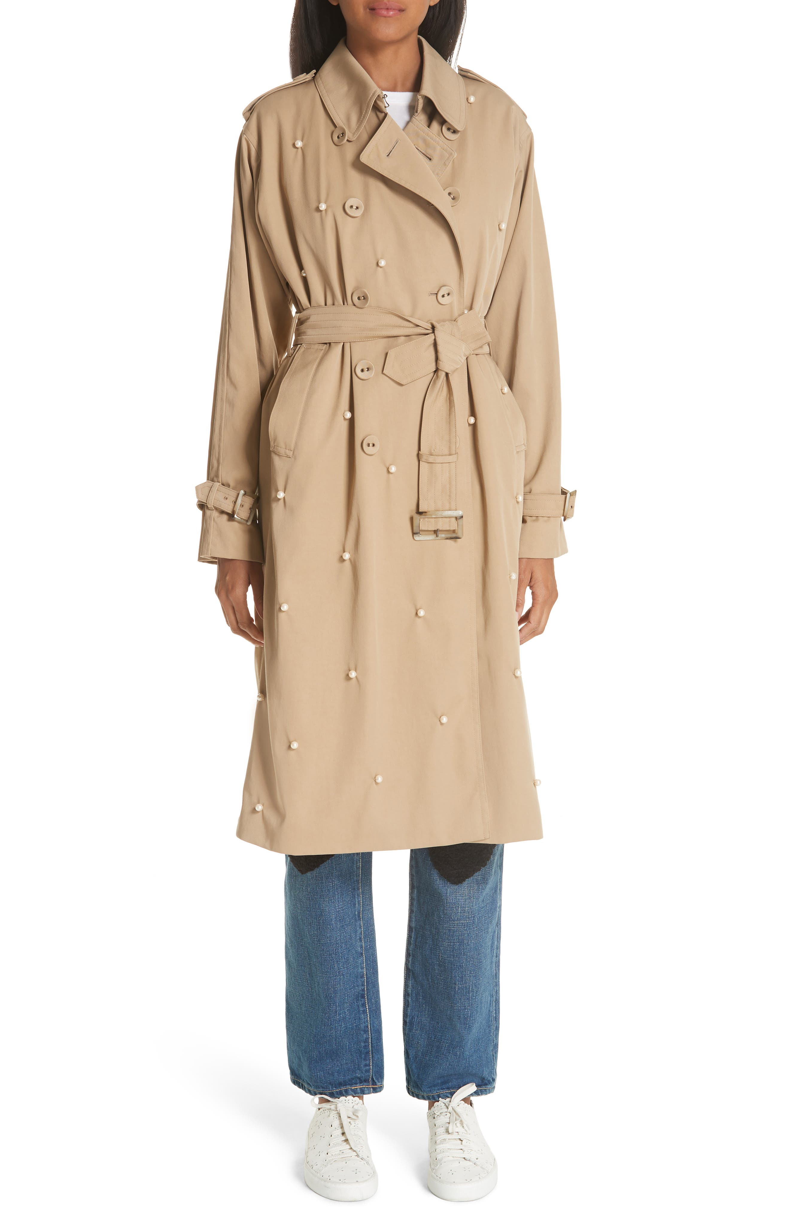 Imitation Pearl Embellished Trench Coat,                             Alternate thumbnail 8, color,                             BEIGE BEIG