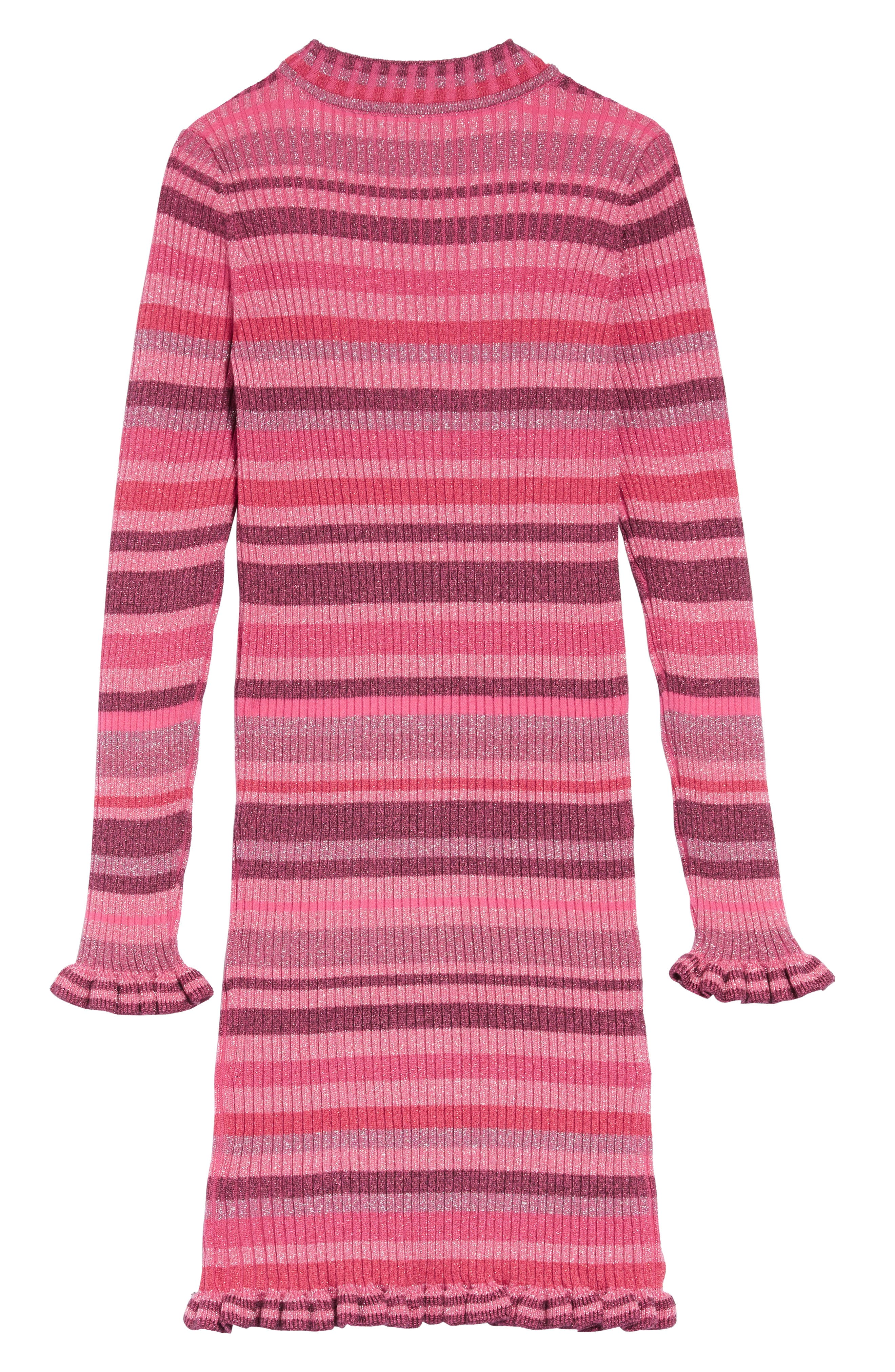 Metallic Stripe Sweater Dress,                             Alternate thumbnail 2, color,                             PINK MULTI