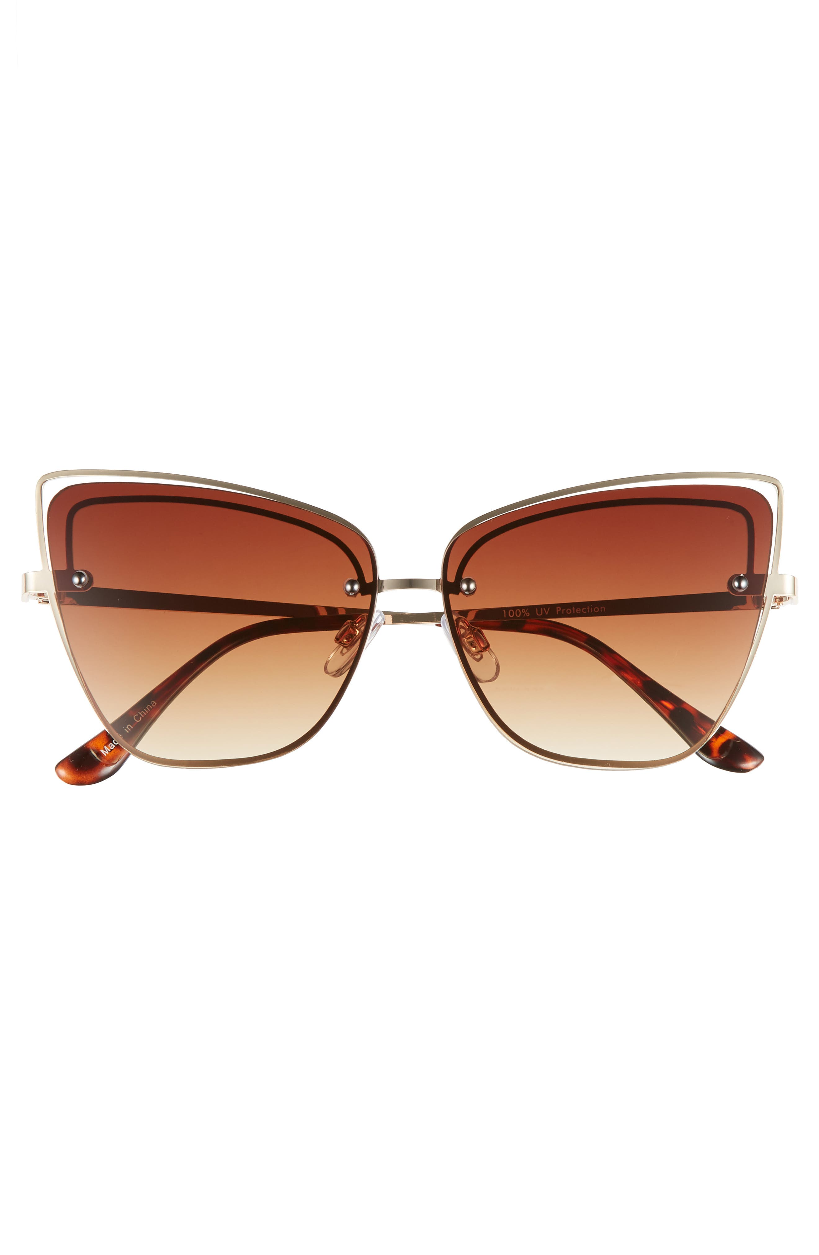 Dainty 53mm Rimless Cat Eye Sunglasses,                             Alternate thumbnail 3, color,                             GOLD/ BROWN
