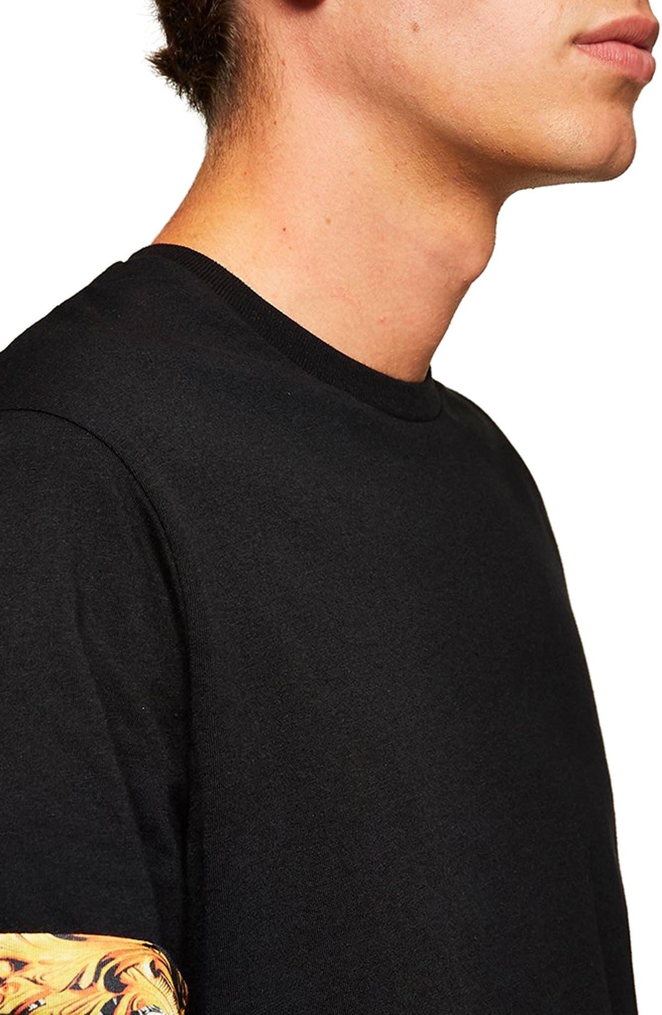 Baroque Trim Roller T-Shirt,                             Alternate thumbnail 3, color,                             BLACK