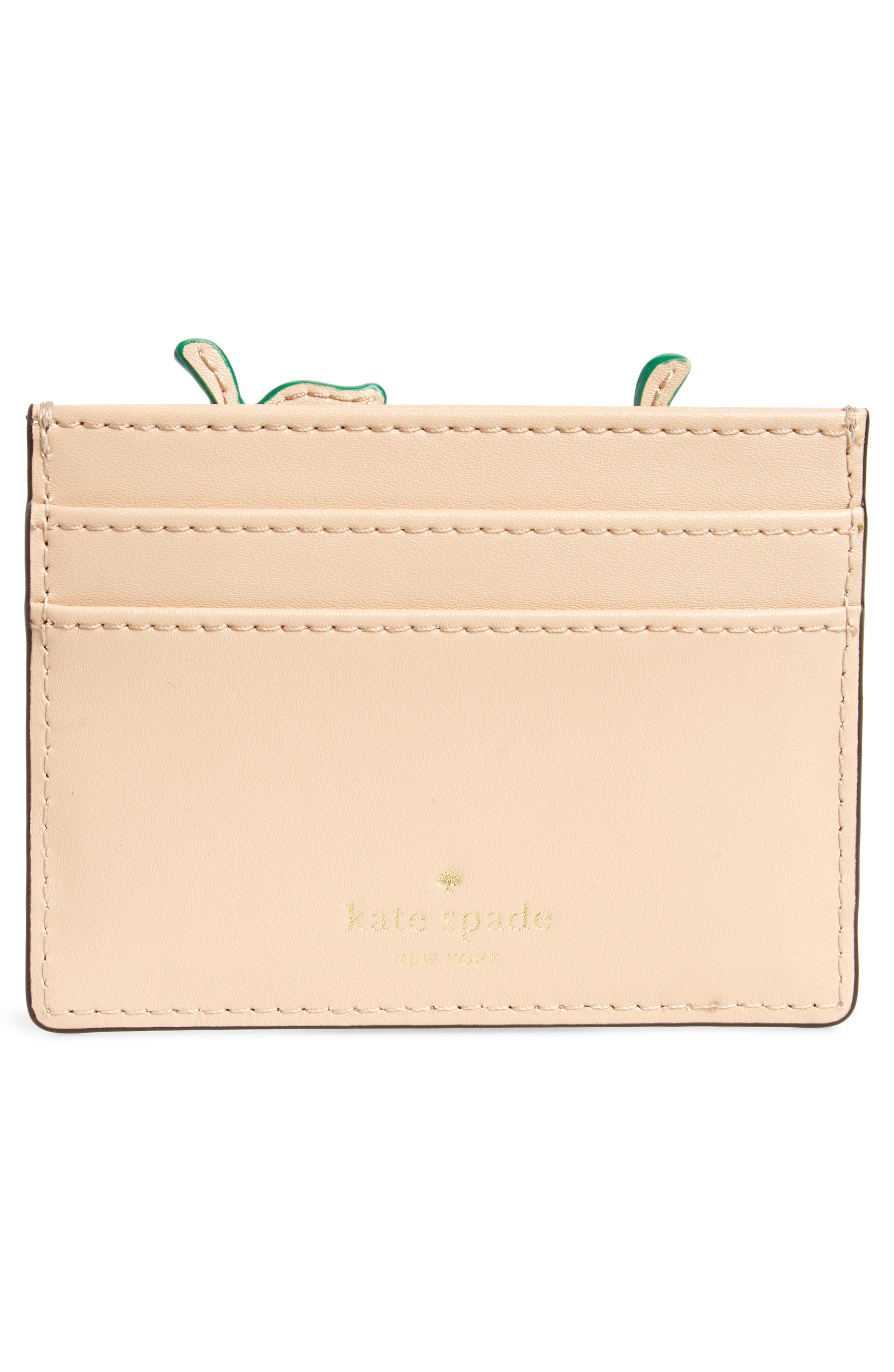 picnic strawberry basket leather card holder,                             Alternate thumbnail 2, color,