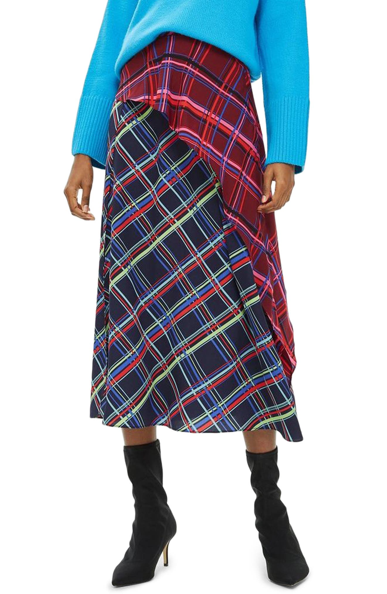 Clan Clash Check Midi Skirt,                         Main,                         color, NAVY BLUE