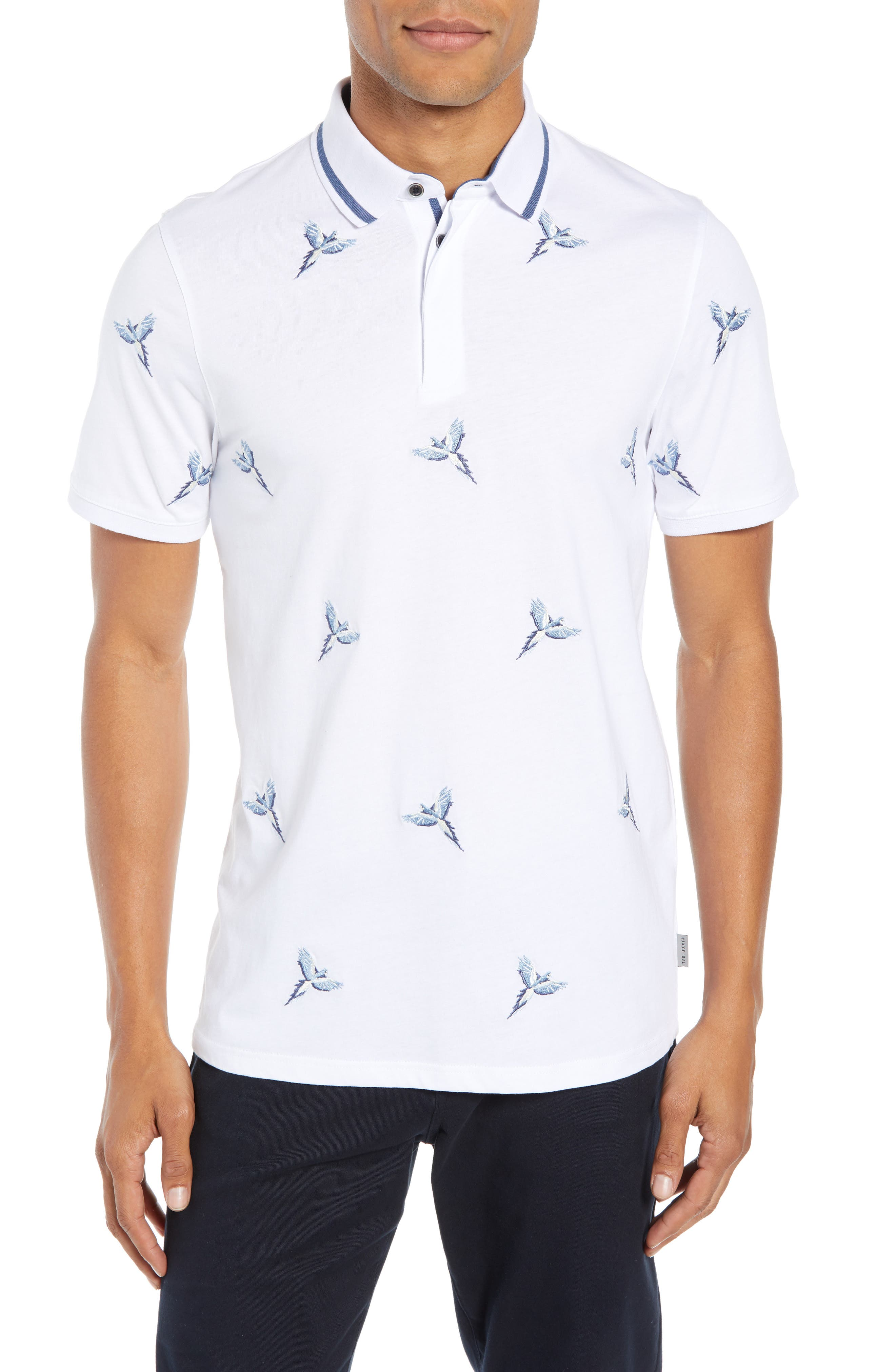 Slim Fit Hapnes Embroidered Bird Polo,                             Main thumbnail 1, color,                             WHITE