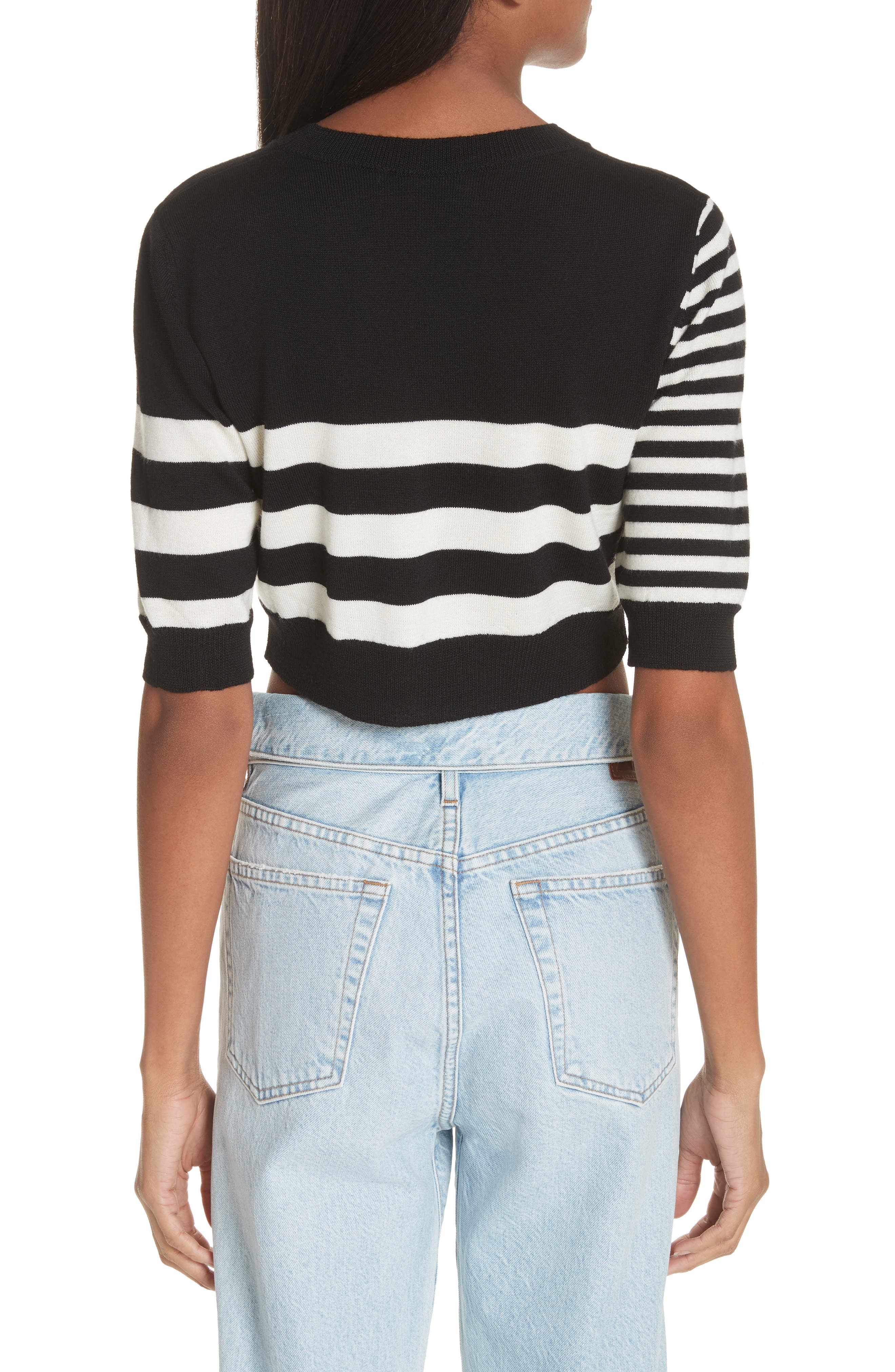 Love Stripe Crop Wool Sweater,                             Alternate thumbnail 2, color,                             001