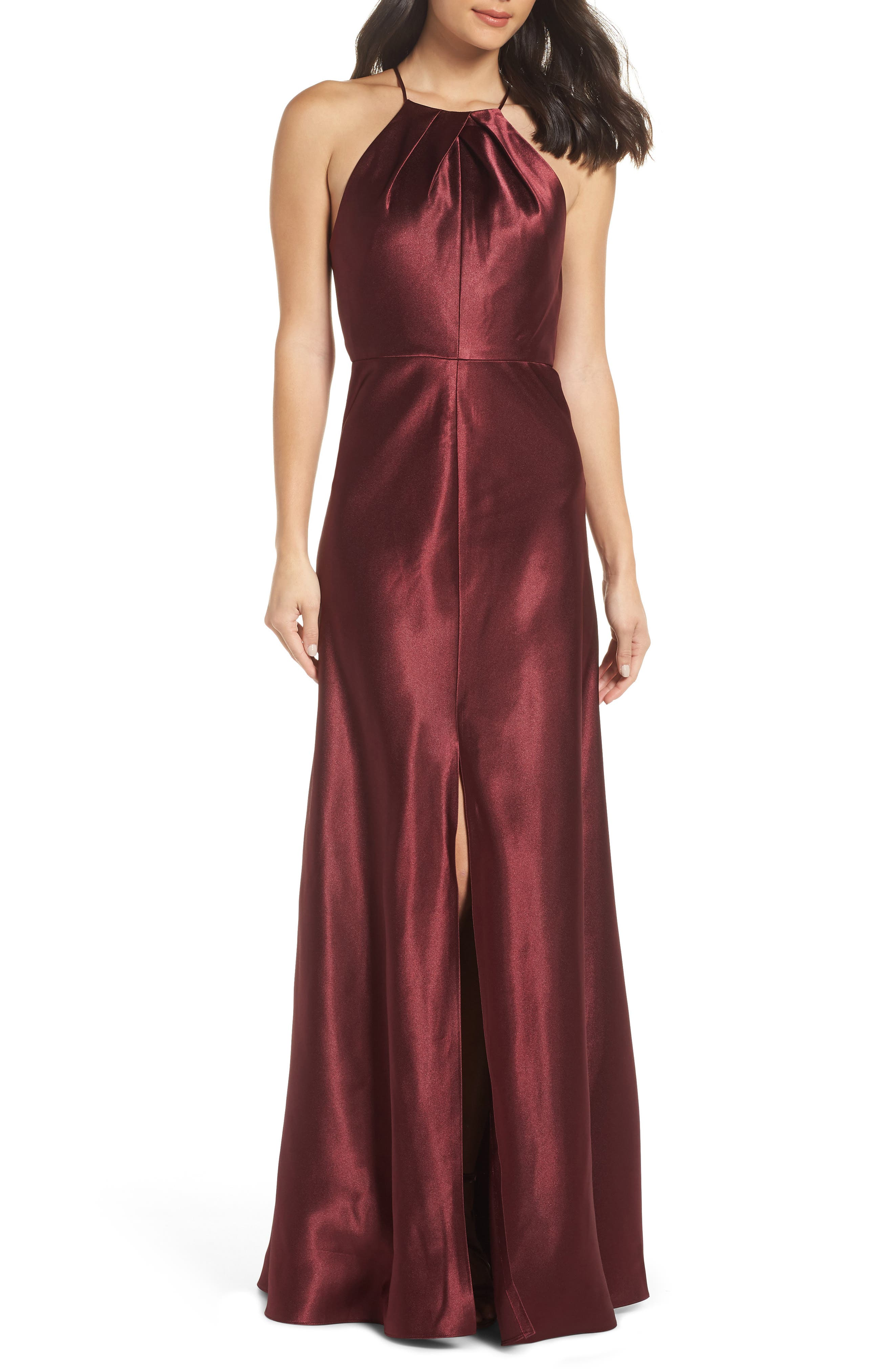 JENNY YOO Cameron Halter Neck Satin Back Gown in Hibiscus