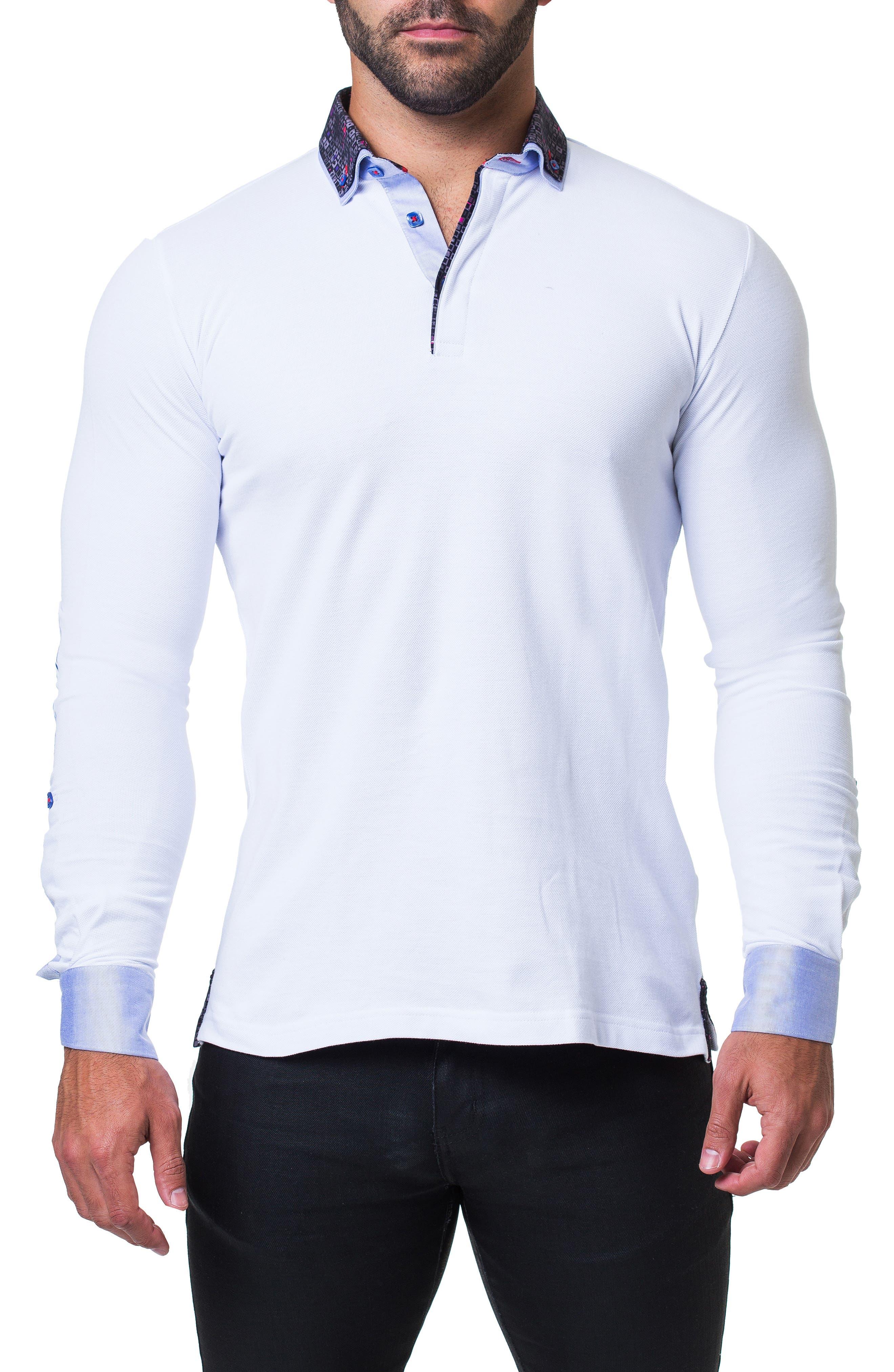 Newton Trim Fit Long Sleeve Polo,                             Main thumbnail 1, color,                             WHITE