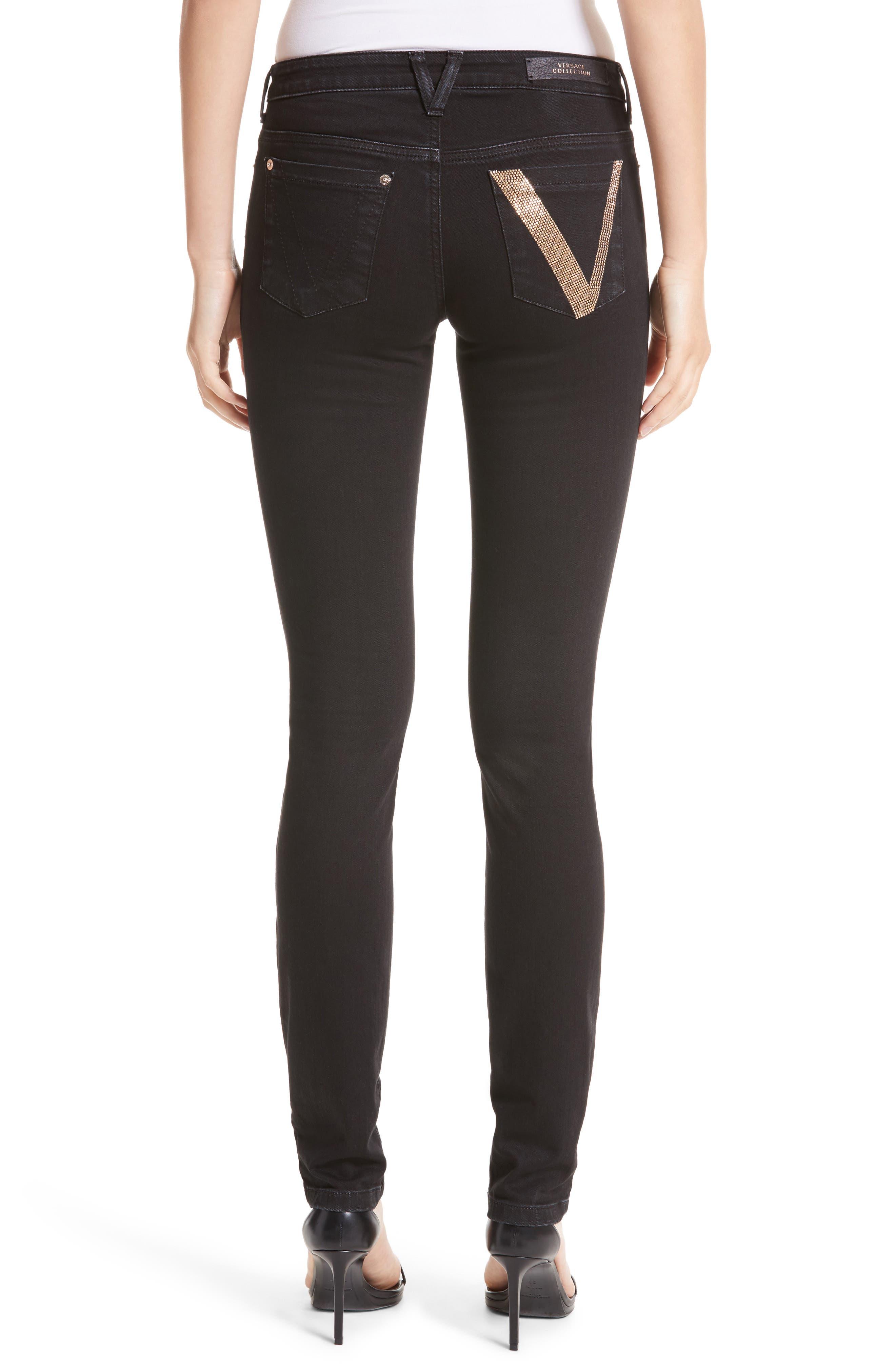 Embellished Pocket Skinny Jeans,                             Alternate thumbnail 2, color,
