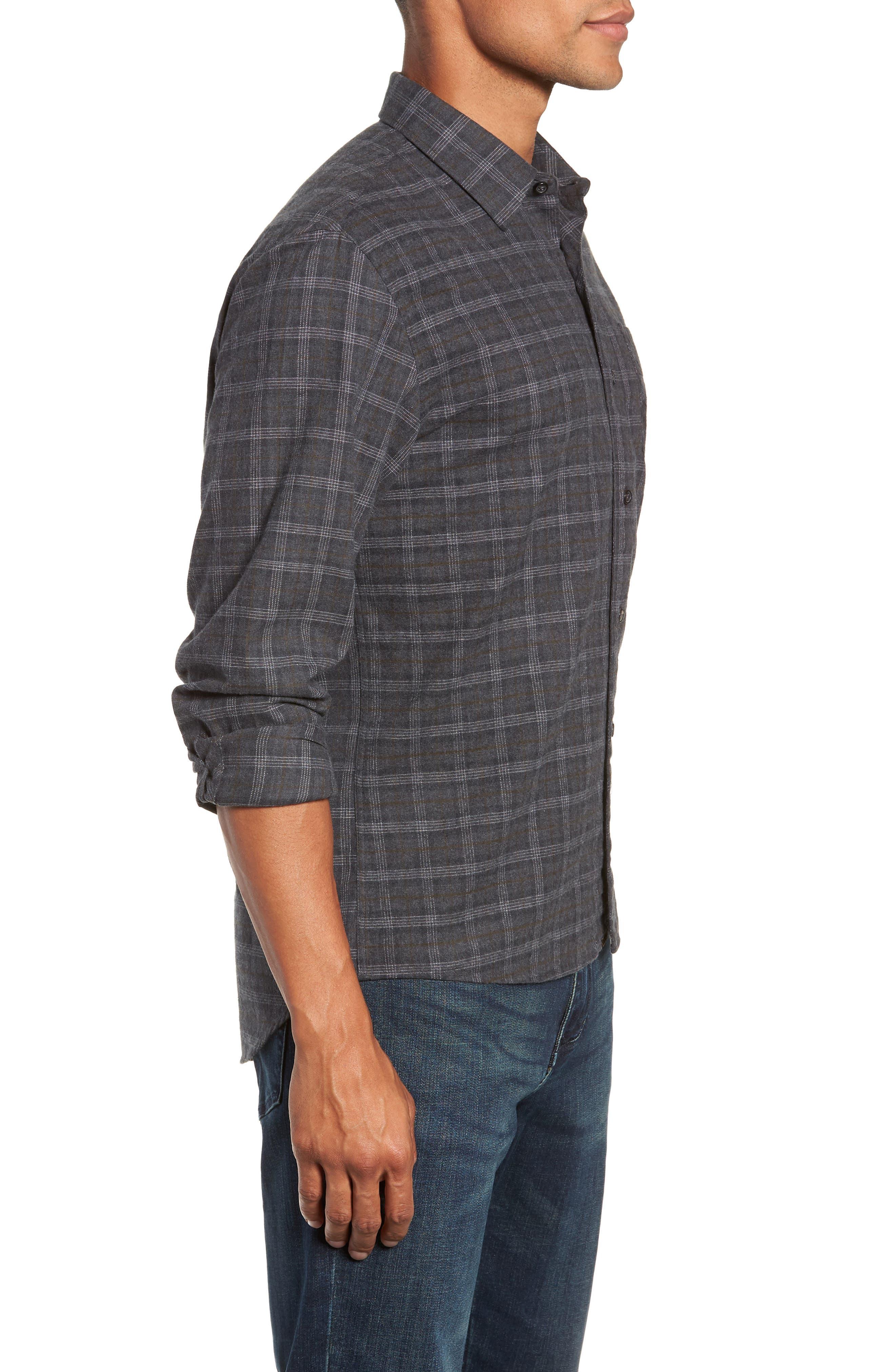 Walland Regular Fit Plaid Sport Shirt,                             Alternate thumbnail 3, color,                             DARK GREY
