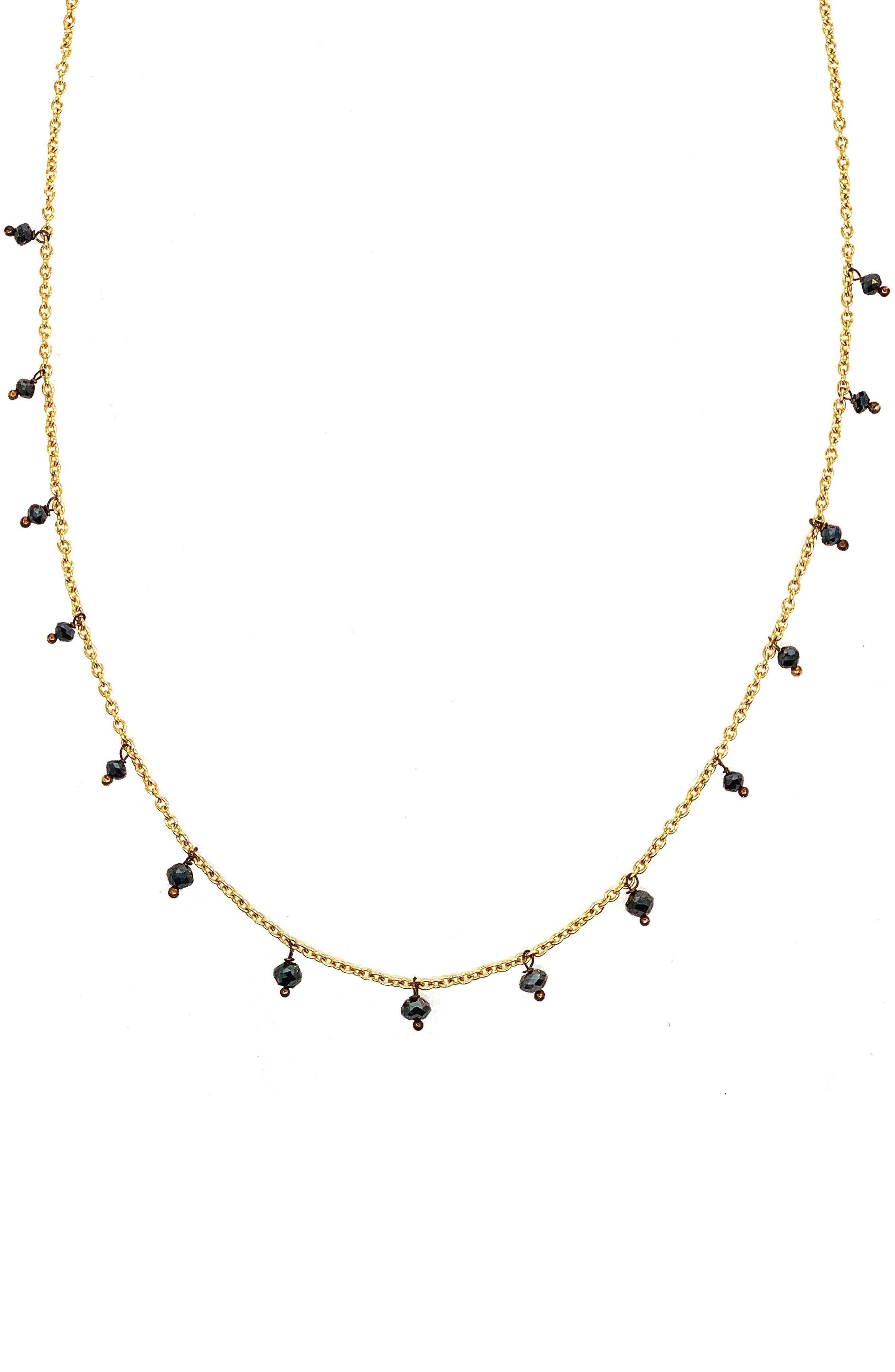 SETHI COUTURE Black Diamond Drop Necklace in Yellow Gold/ Diamond