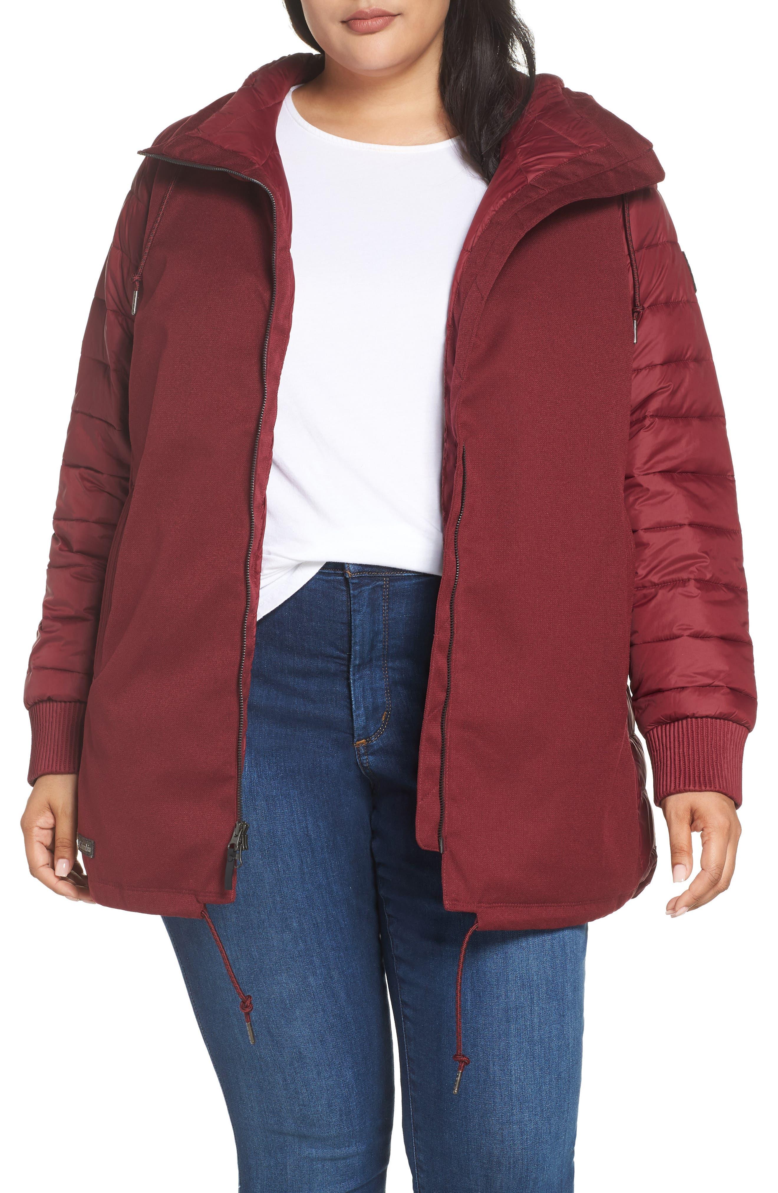 Plus Size Columbia Boundary Bay Waterproof Hybrid Jacket, Red