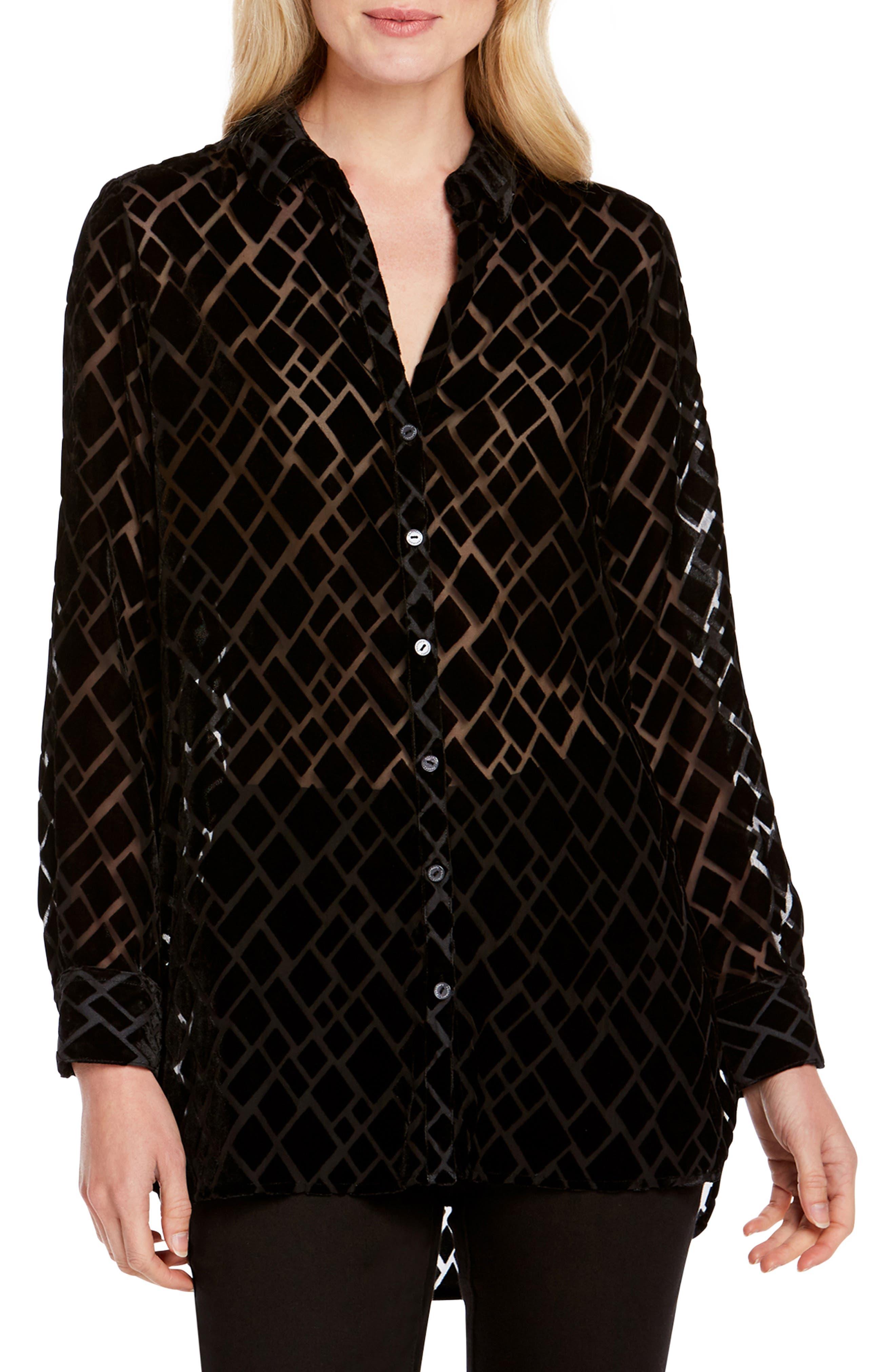 Jade Sheer Diamond Burnout Tunic Top in Black