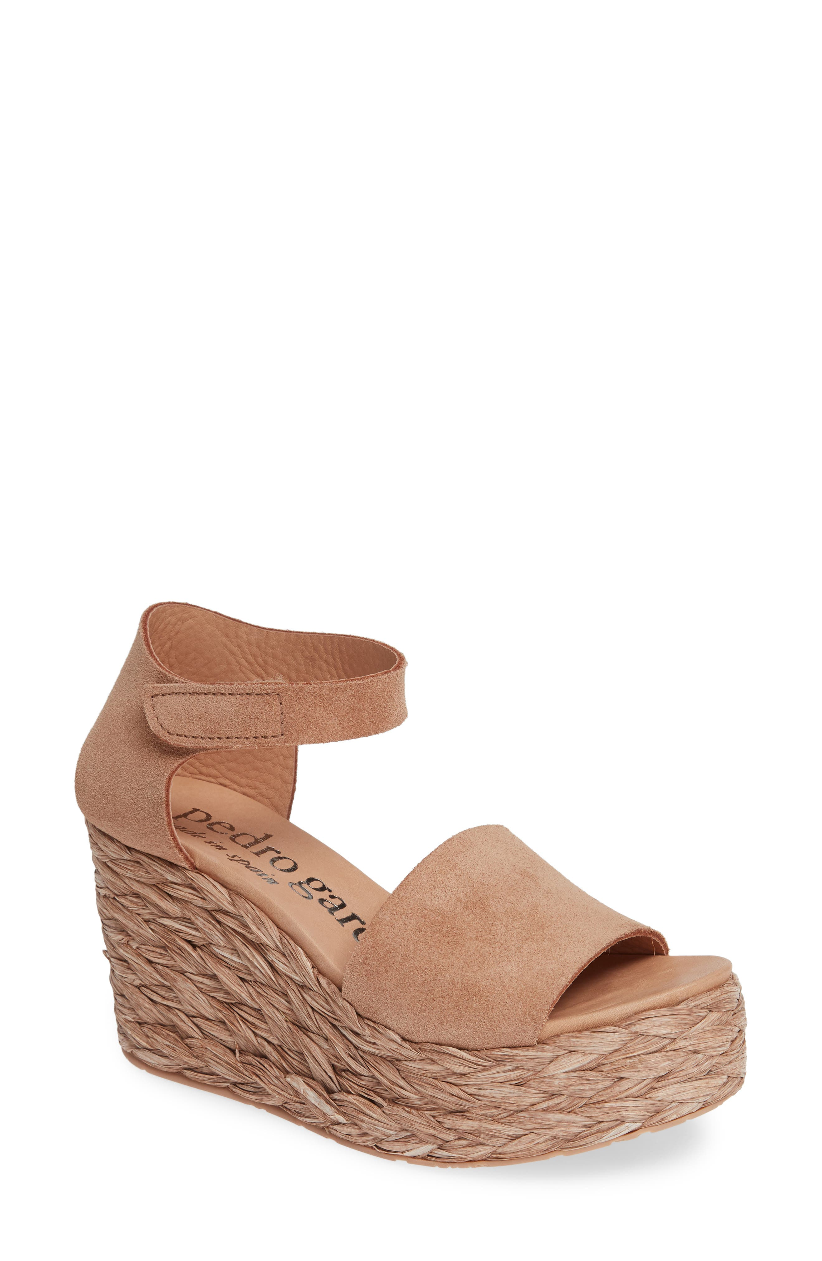 PEDRO GARCIA Dory Suede Low-Wedge Espadrille Sandals in Rose Castoro