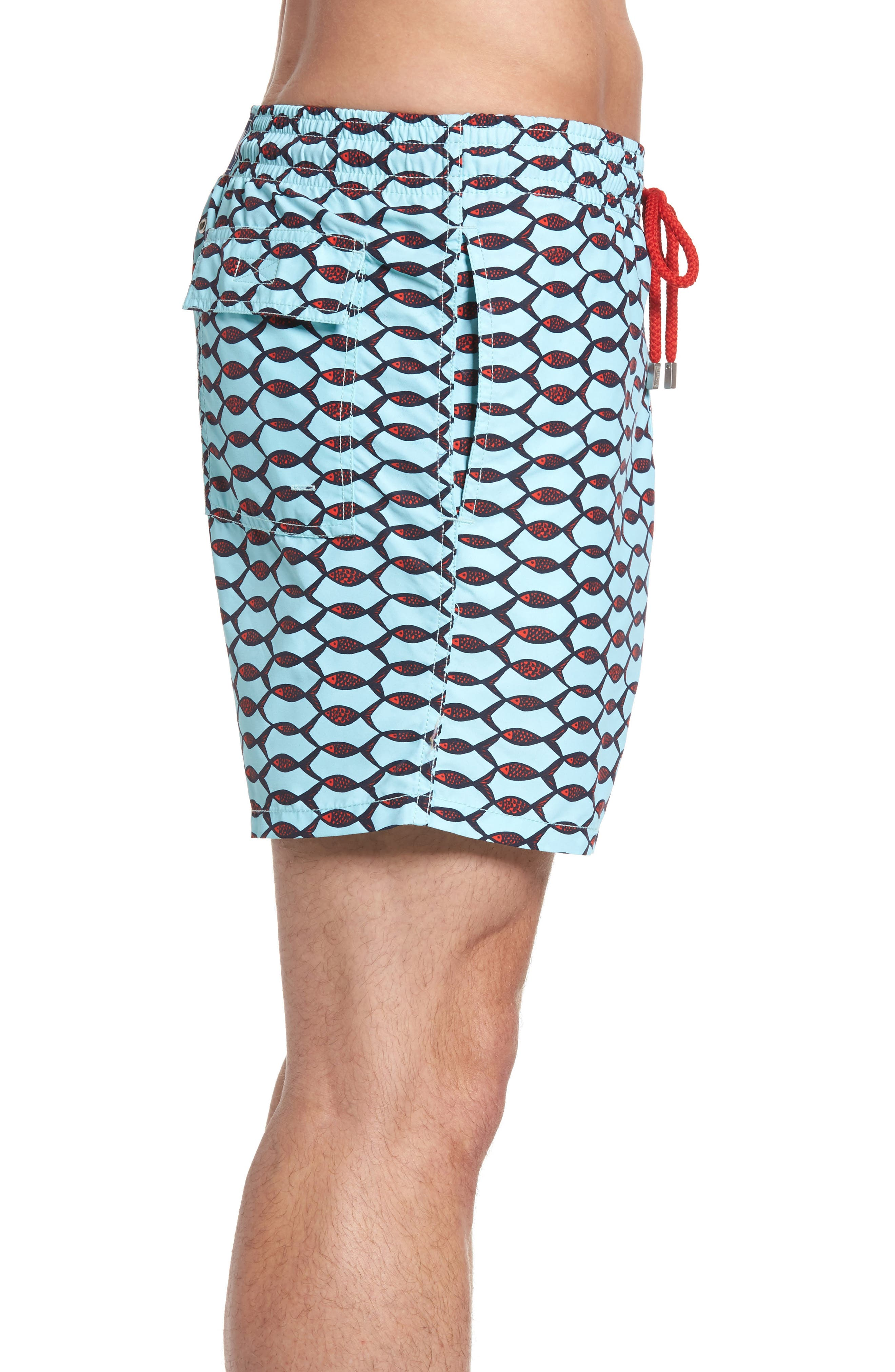 Moorea Fishnet Print Swim Trunks,                             Alternate thumbnail 3, color,                             FROSTED BLUE