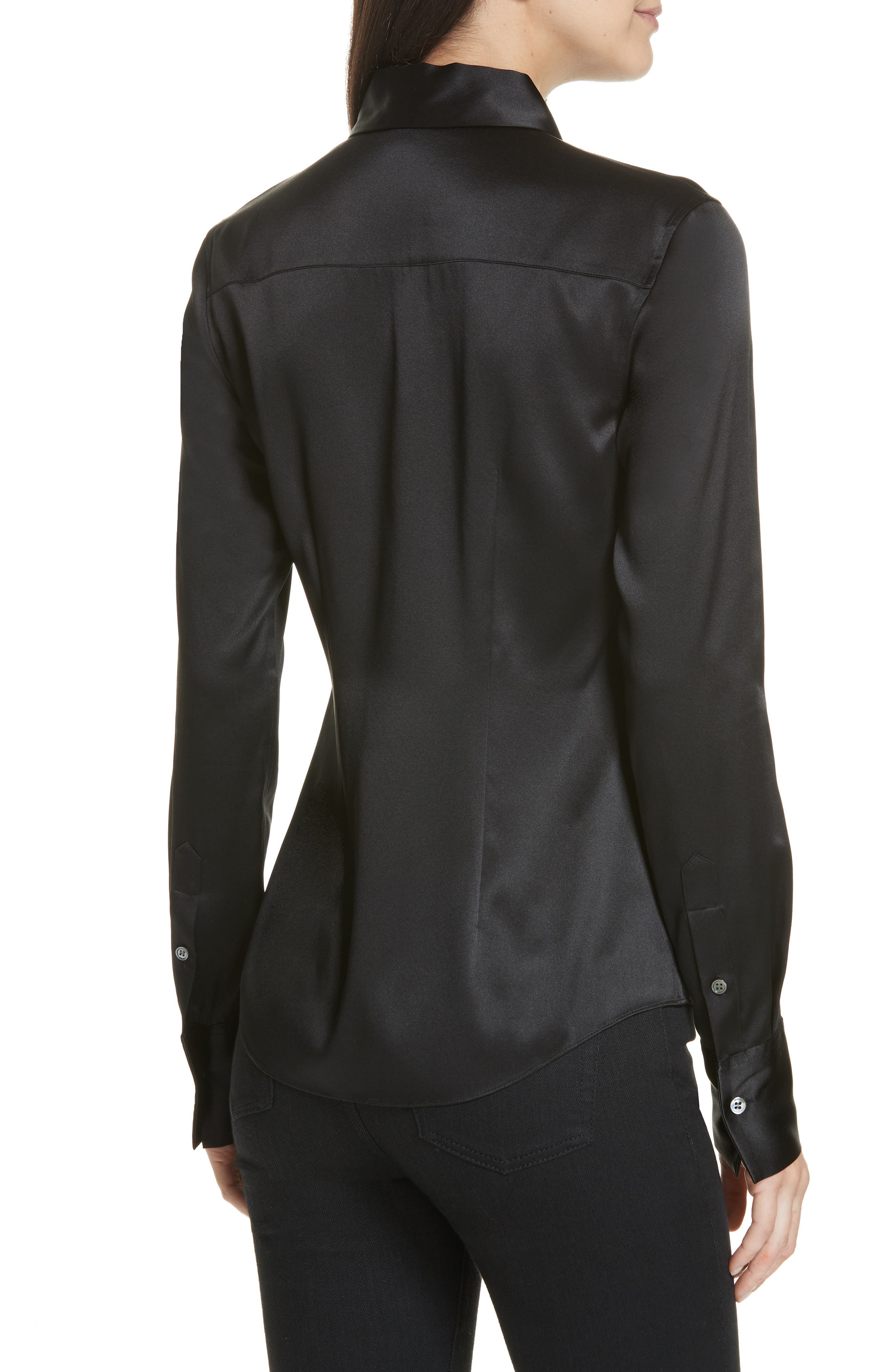 Perfect Fit Stretch Silk Blouse,                             Alternate thumbnail 2, color,                             BLACK