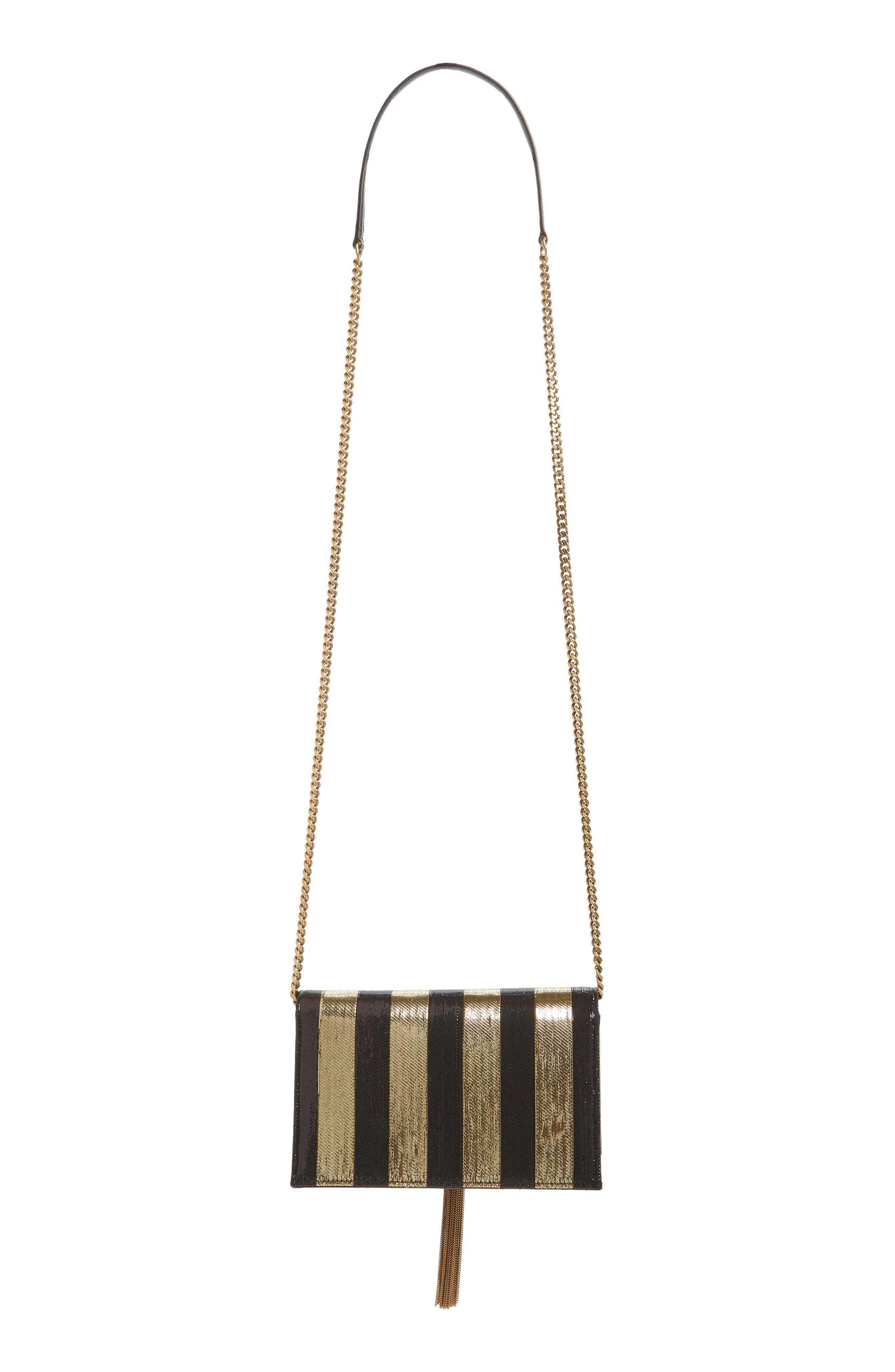 Kate Metallic Stripe Wallet on a Chain,                             Alternate thumbnail 4, color,                             NERO/ ORO/ NERO