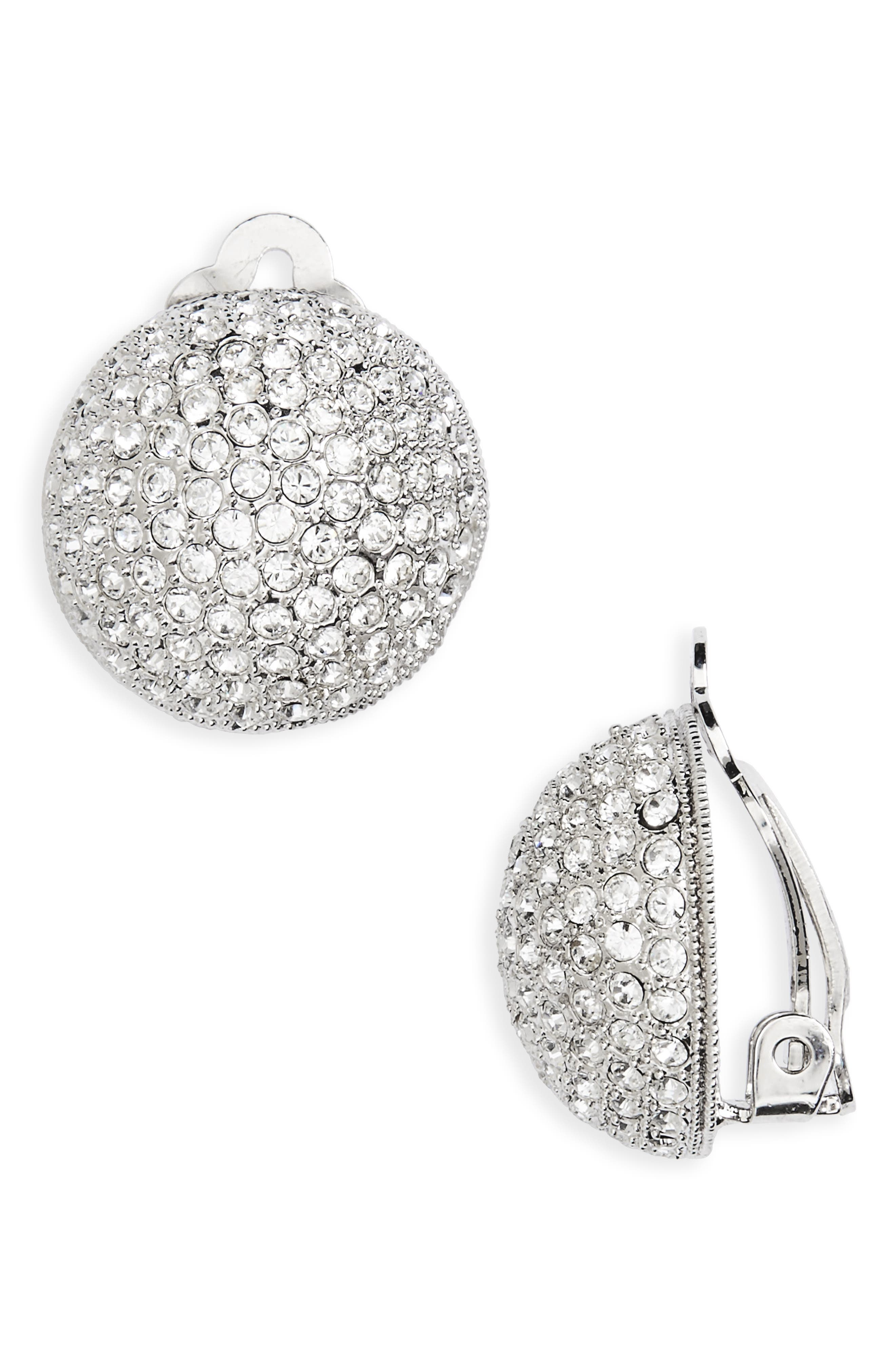 Clip Swarovski Crystal Earrings,                             Main thumbnail 1, color,                             SILVER