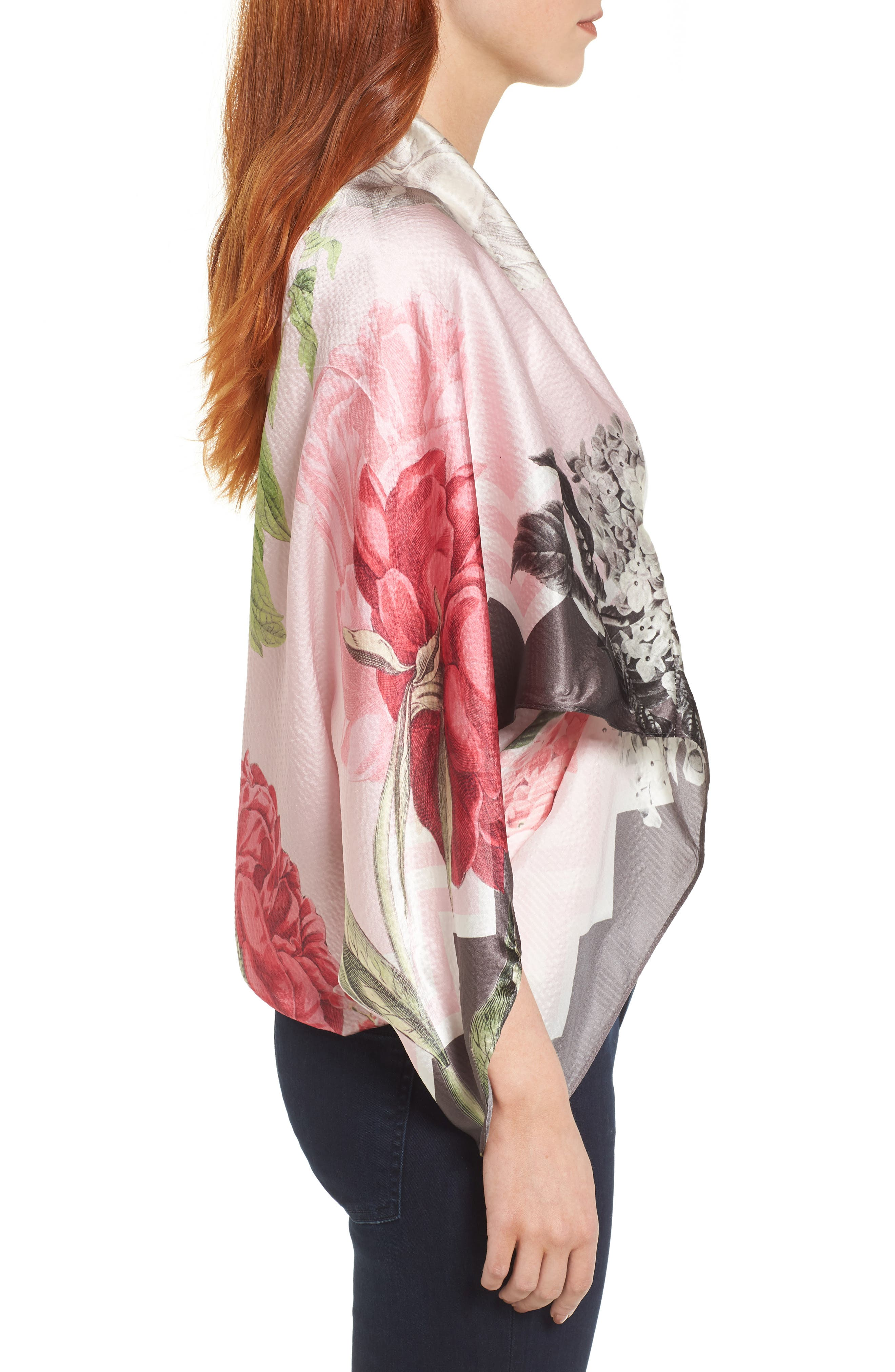 Palace Gardens Silk Cape Scarf,                             Alternate thumbnail 3, color,                             DUSKY PINK