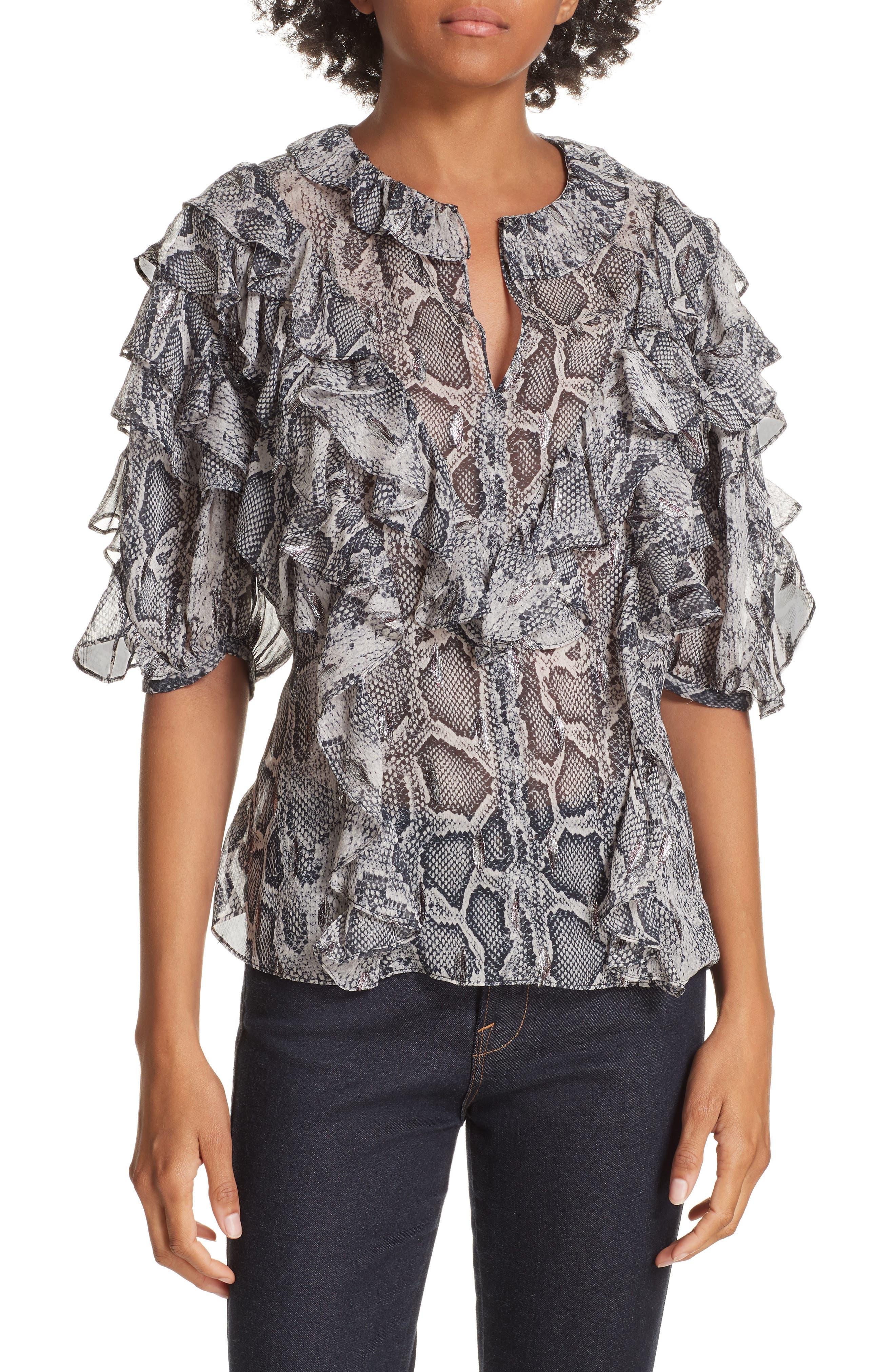 Ruffled Snakeskin Print Blouse,                         Main,                         color, WASHED BLACK COMBO