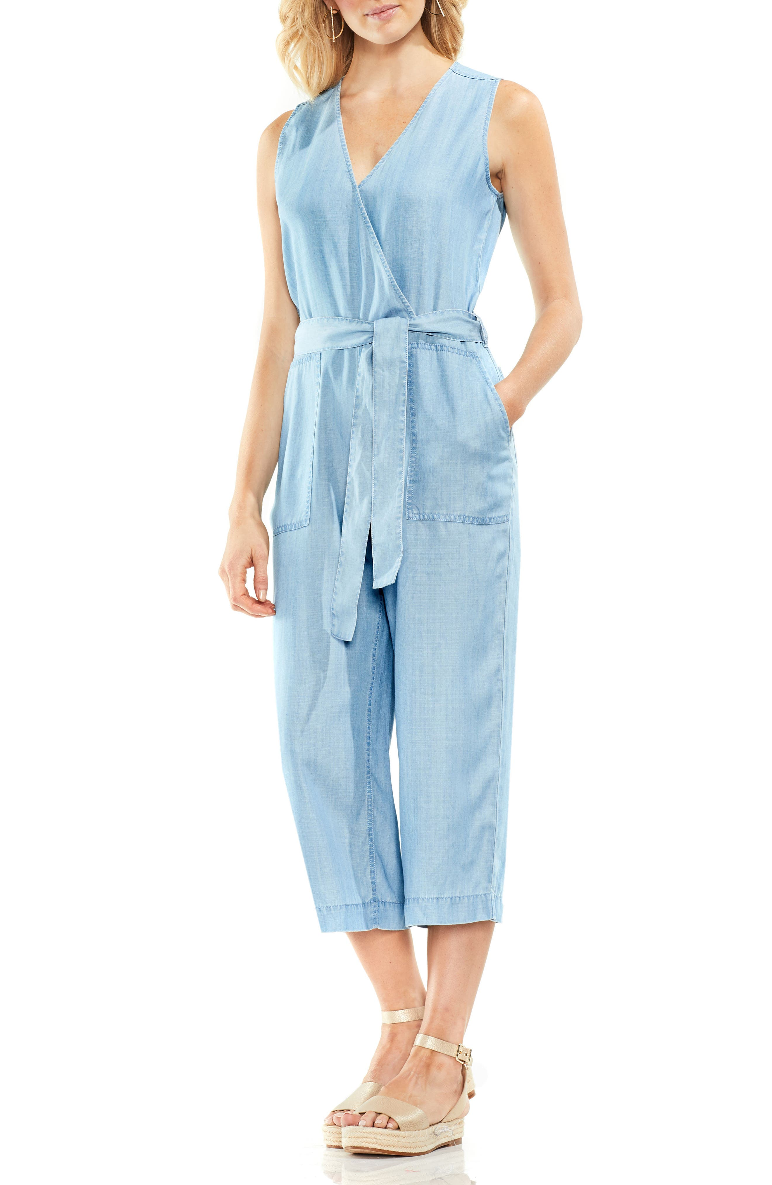 Sleeveless Faux Wrap Jumpsuit,                         Main,                         color, 410