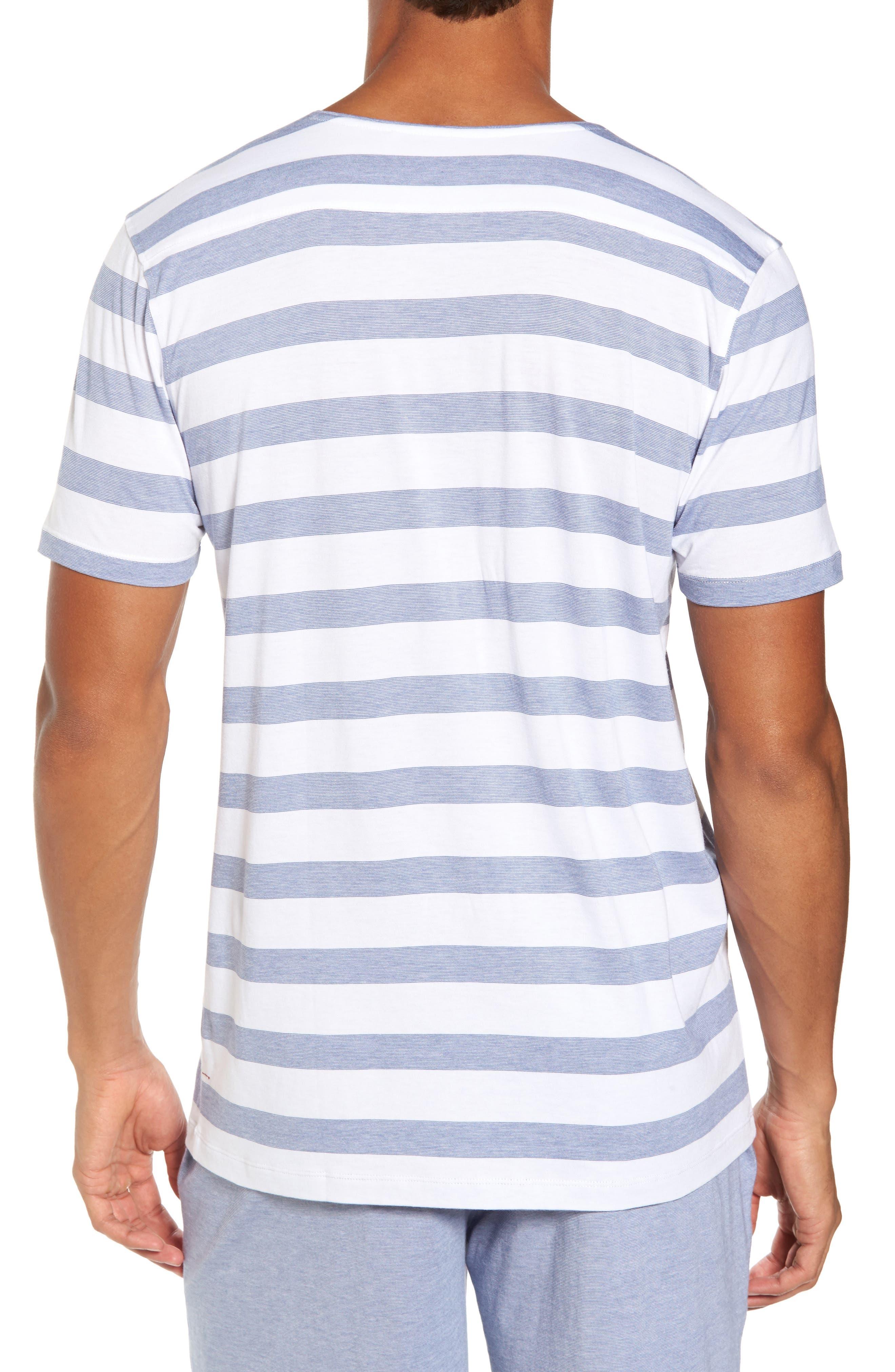 Stripe V-Neck Pima Cotton & Modal T-Shirt,                             Alternate thumbnail 2, color,                             001