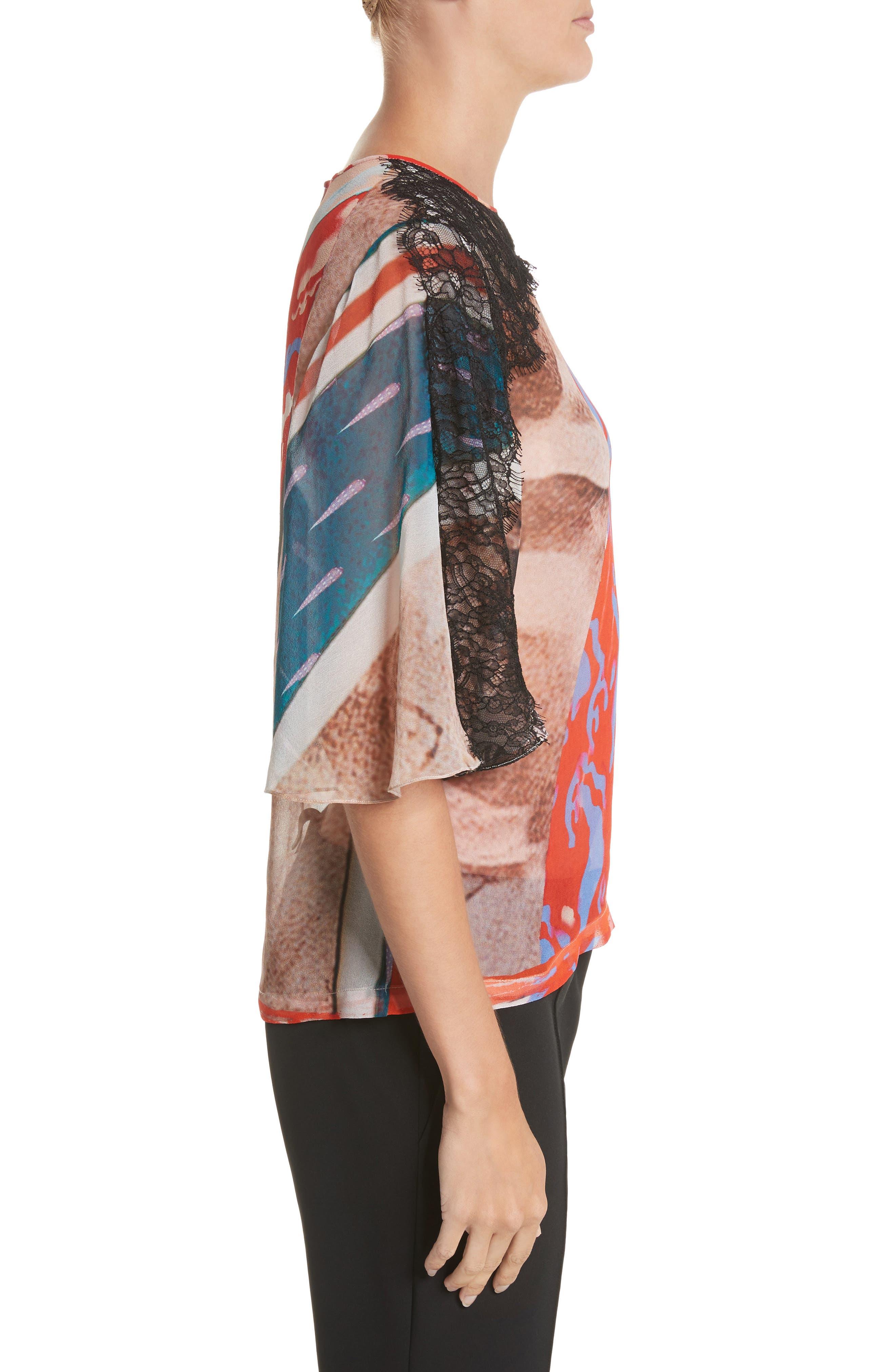 Lace & Print Silk Top,                             Alternate thumbnail 3, color,                             600