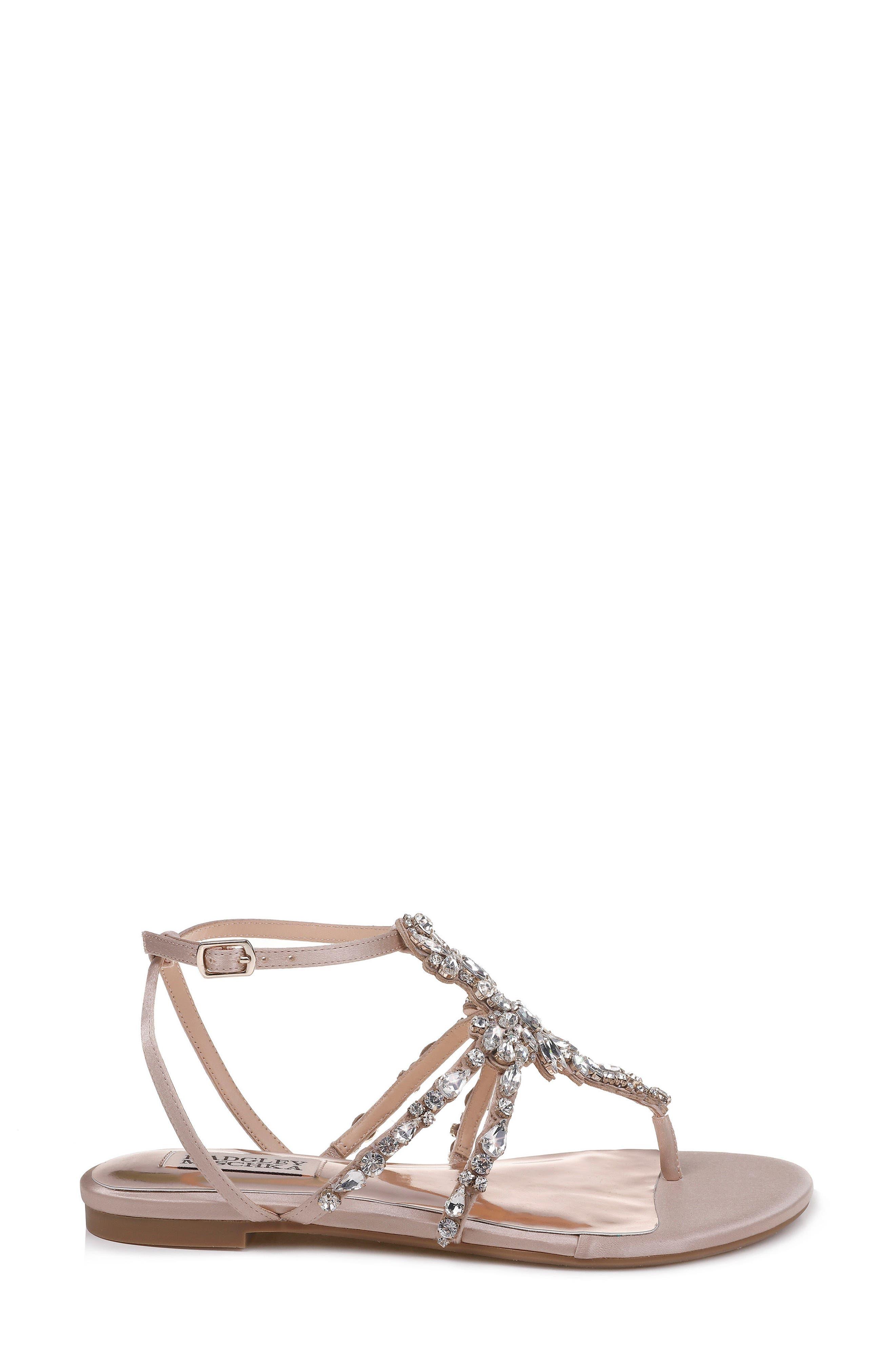 Hampden Crystal Embellished Sandal,                             Alternate thumbnail 3, color,                             LATTE SATIN