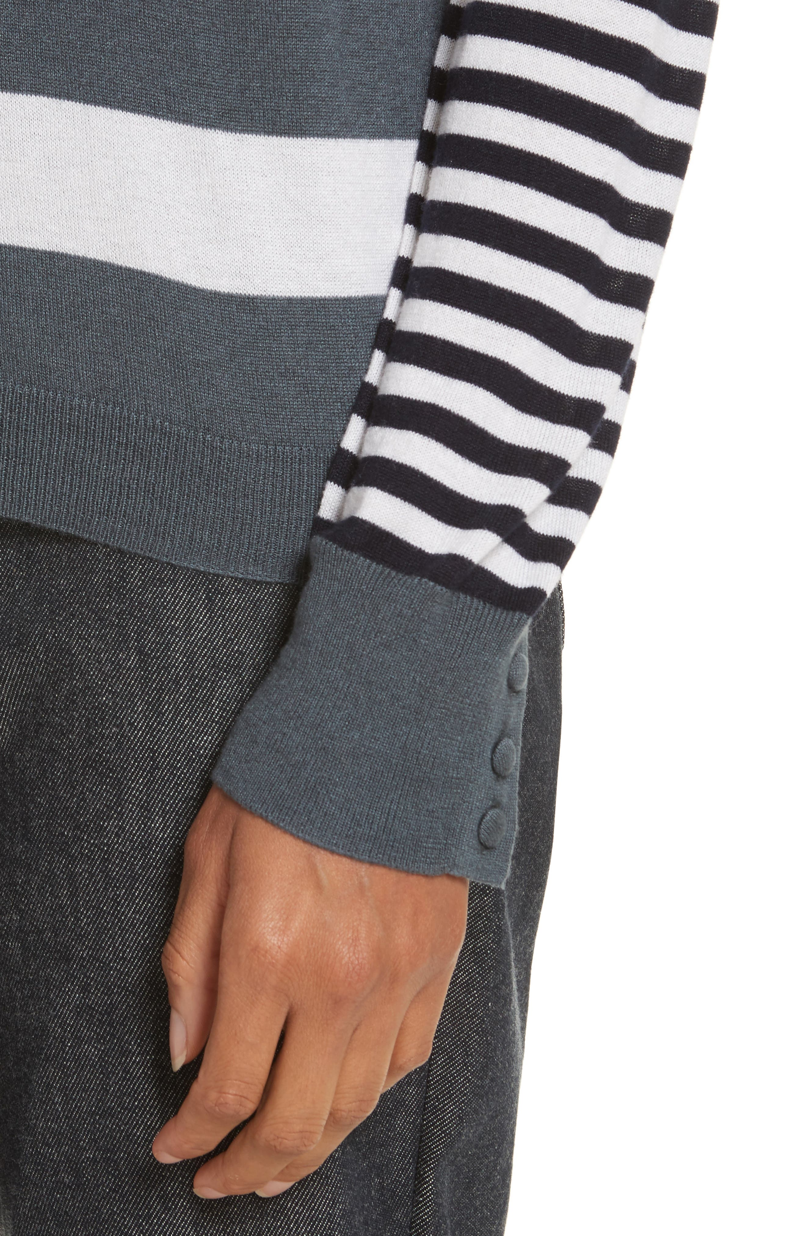 Marica Stripe Silk & Cashmere Sweater,                             Alternate thumbnail 4, color,                             054