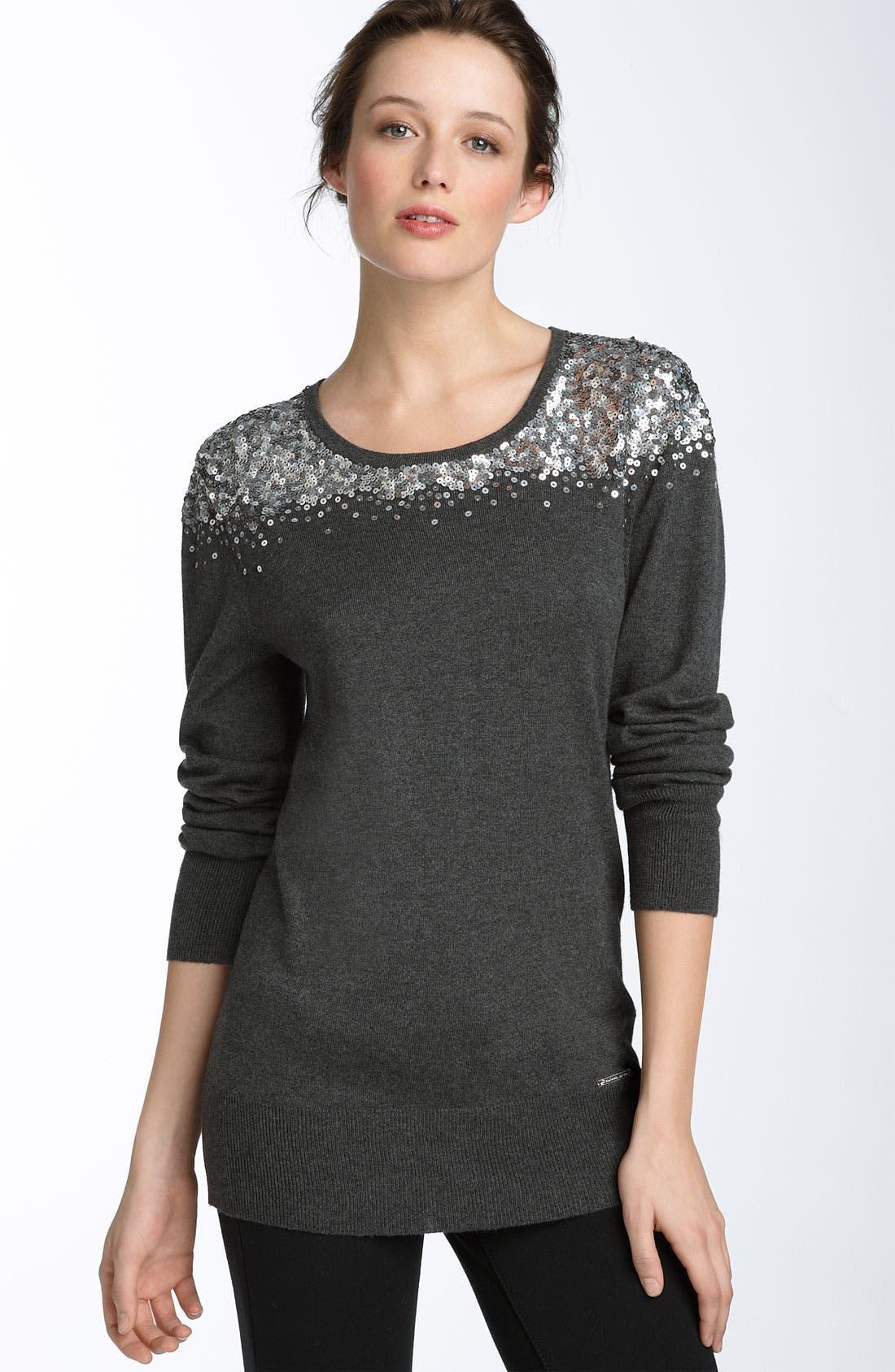 MICHAEL MICHAEL KORS Sequin Sweater, Main, color, 011
