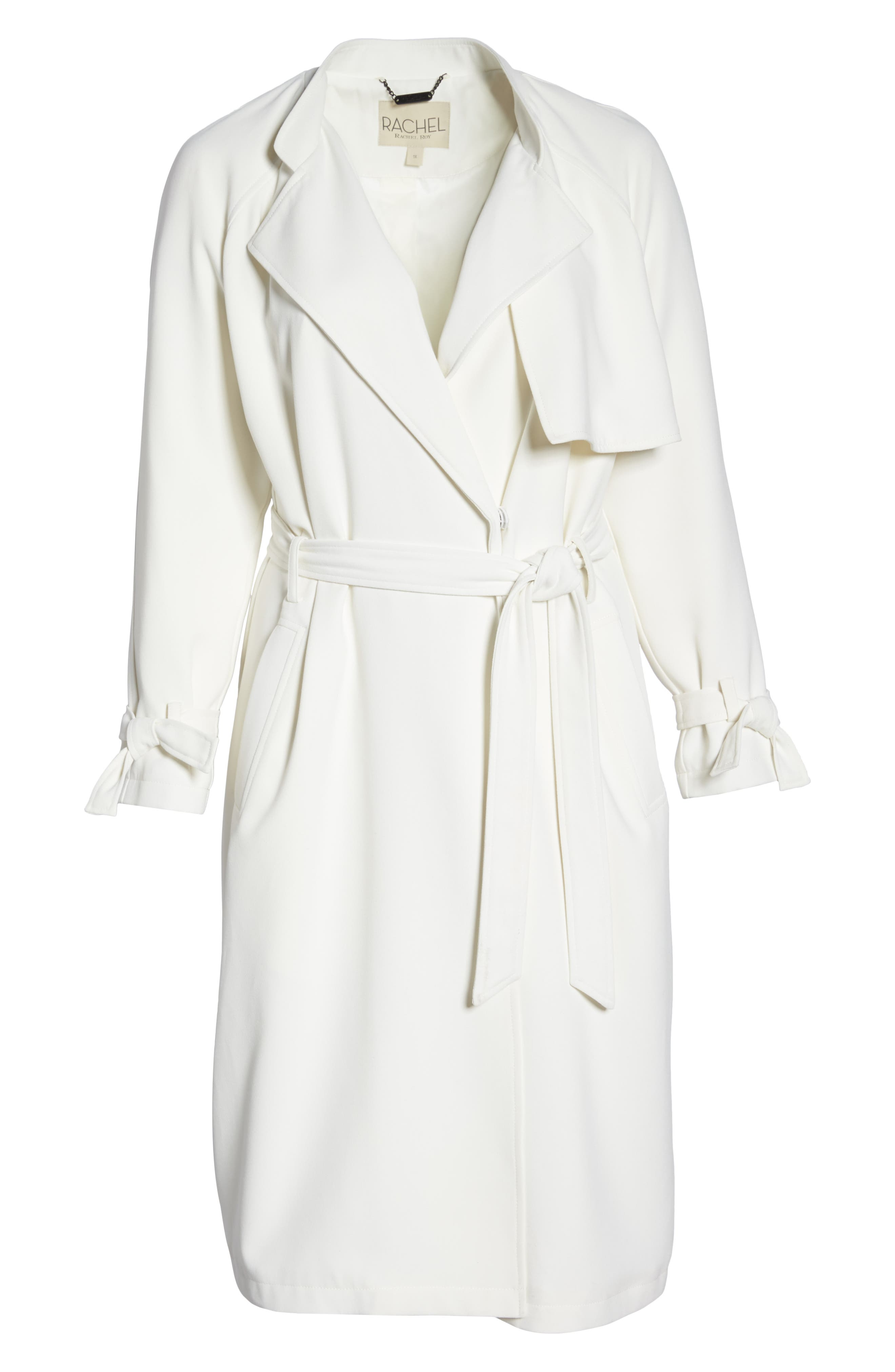 Crepe Trench Coat,                             Alternate thumbnail 6, color,                             WHITE