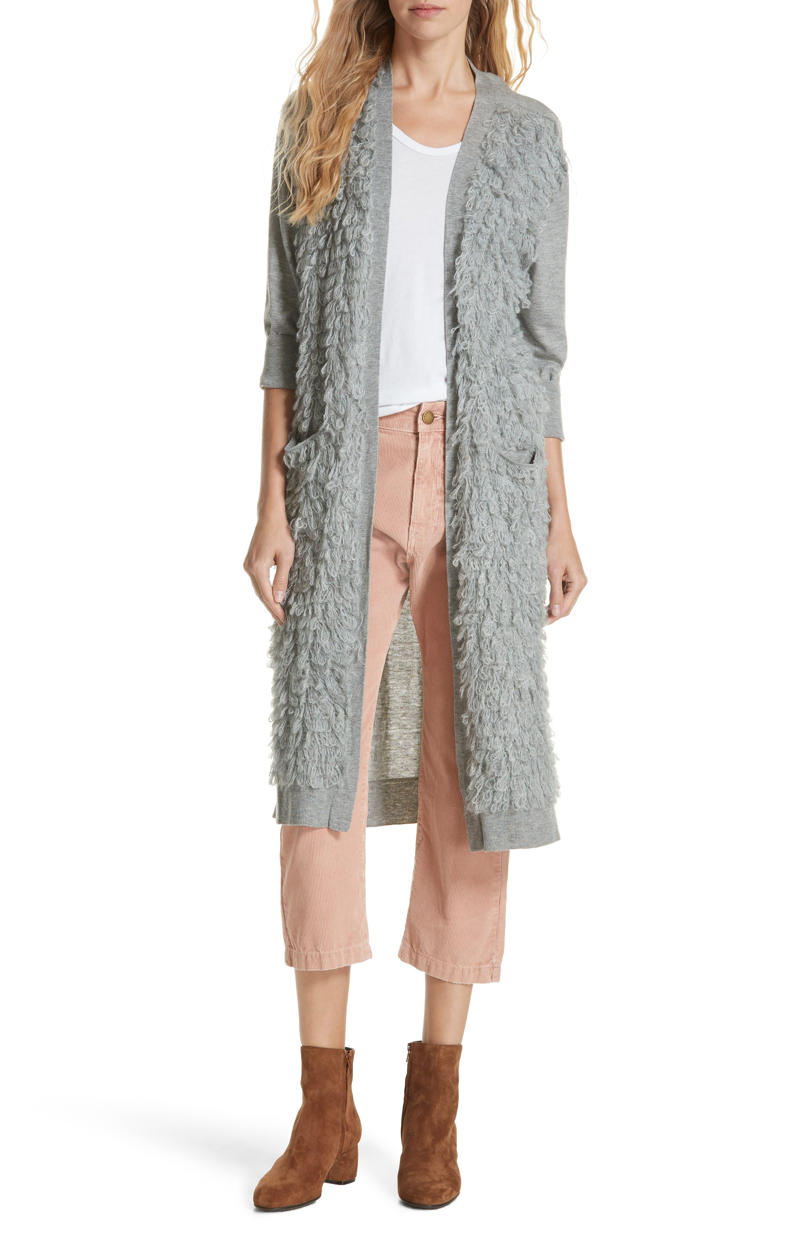 Loop Knit Long Cardigan,                         Main,                         color, HEATHER GREY