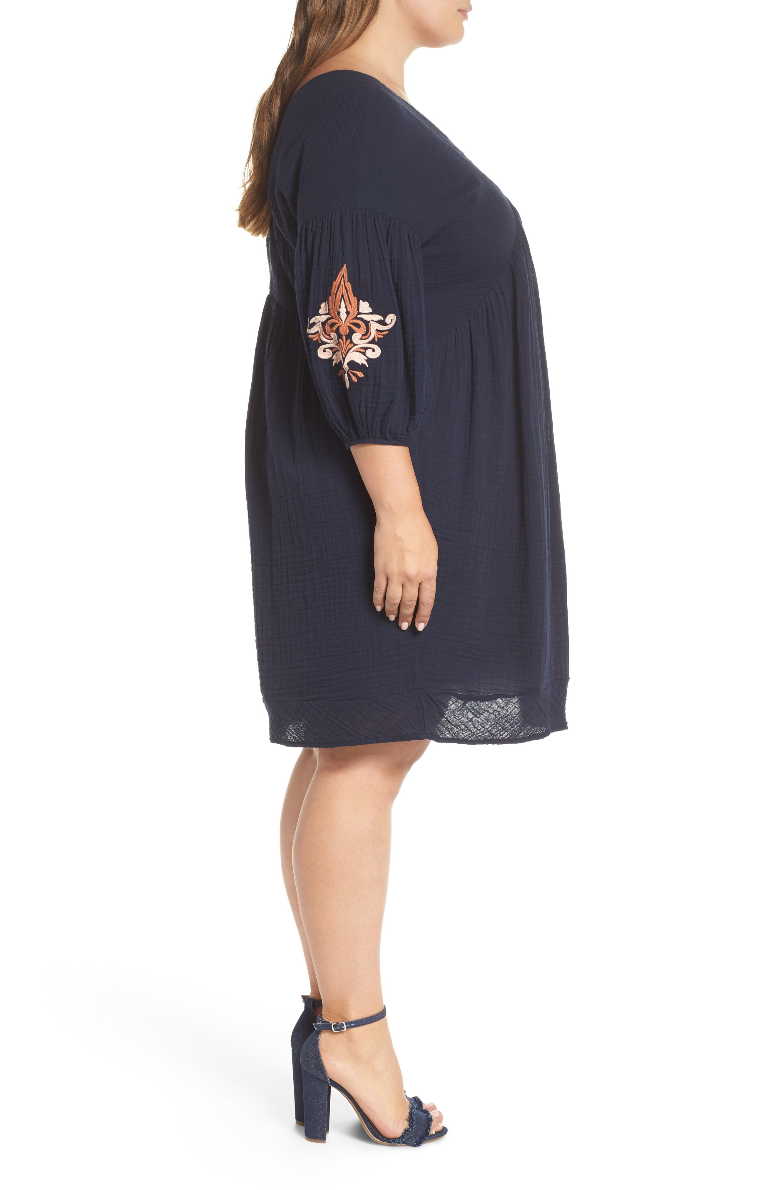 Embroidered Puff Sleeve Dress,                             Alternate thumbnail 3, color,                             NAVY ELLERY EMB
