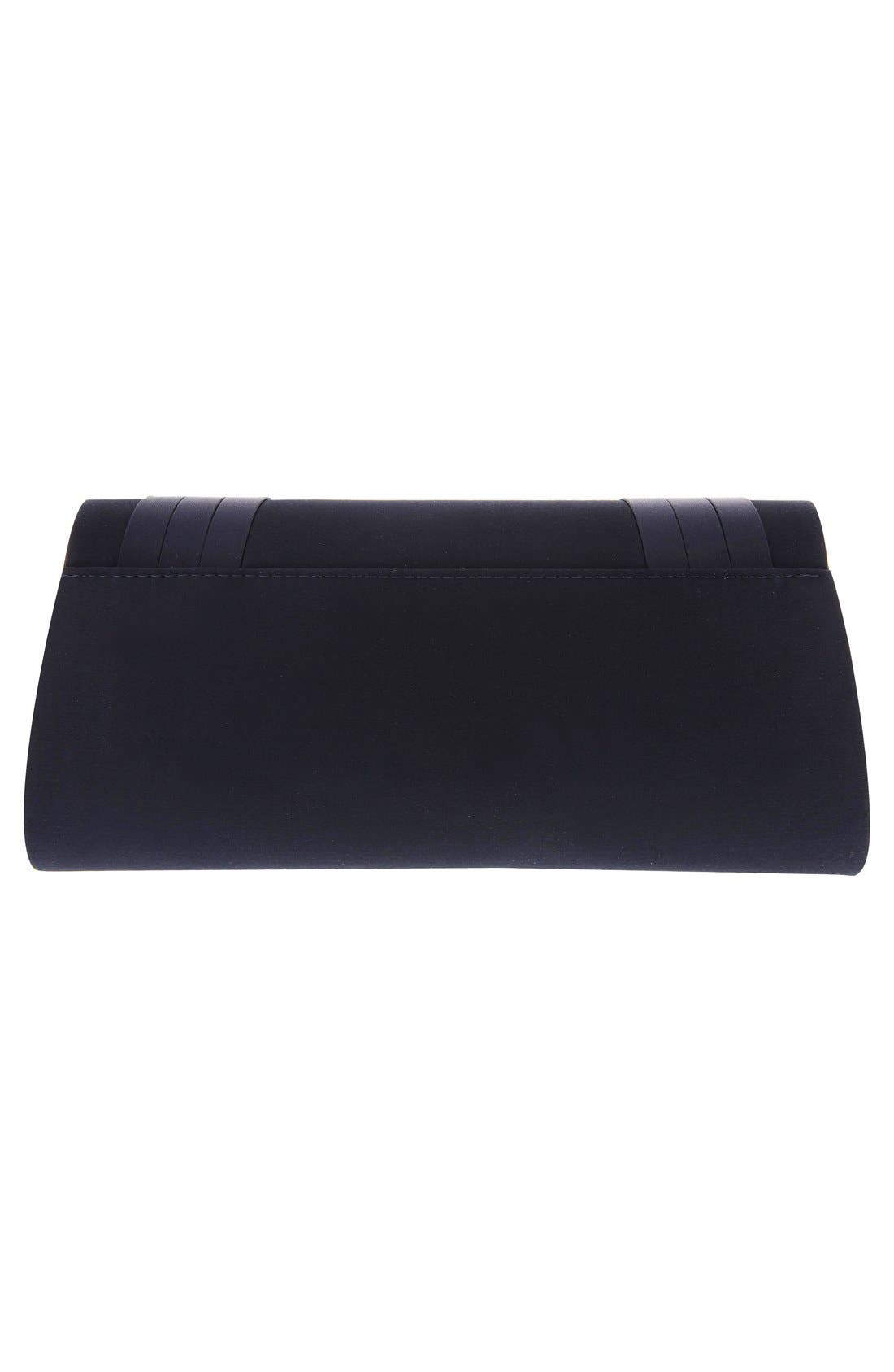 Avis Pleated Classic Clutch,                             Alternate thumbnail 8, color,                             NAVY NOBLE SATIN