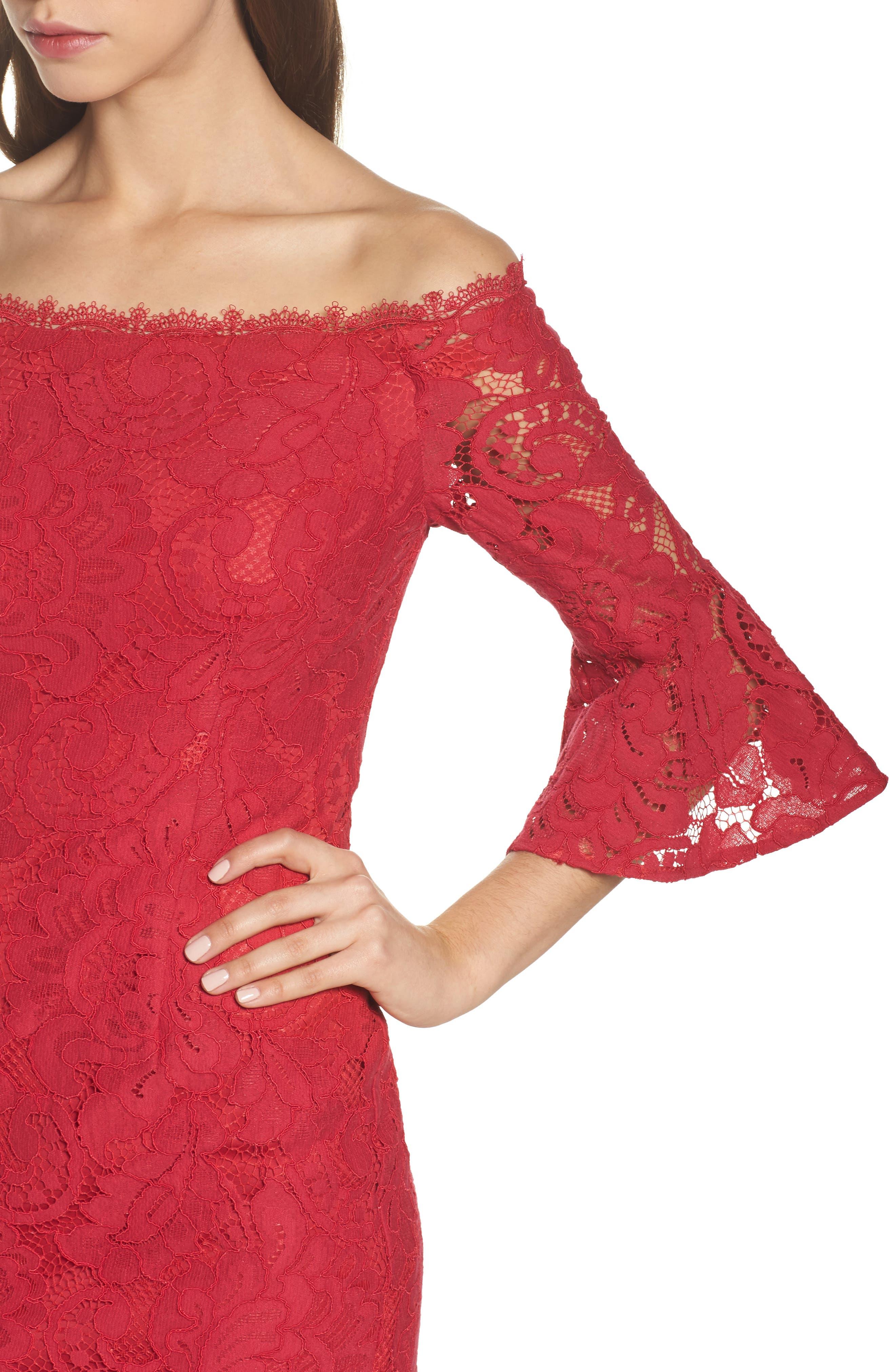 Off the Shoulder Lace Sheath Dress,                             Alternate thumbnail 4, color,                             620
